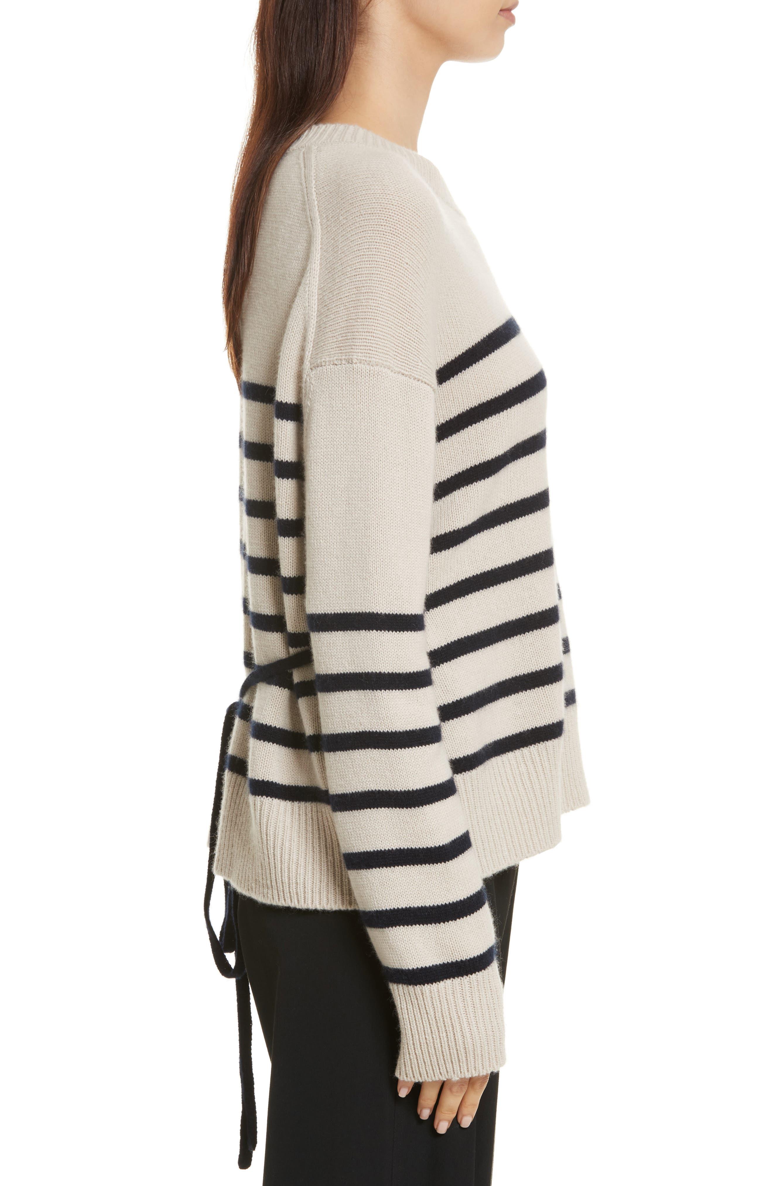 Cashmere Stripe Boxy Crew Sweater,                             Alternate thumbnail 3, color,                             Chalet/ Coastal