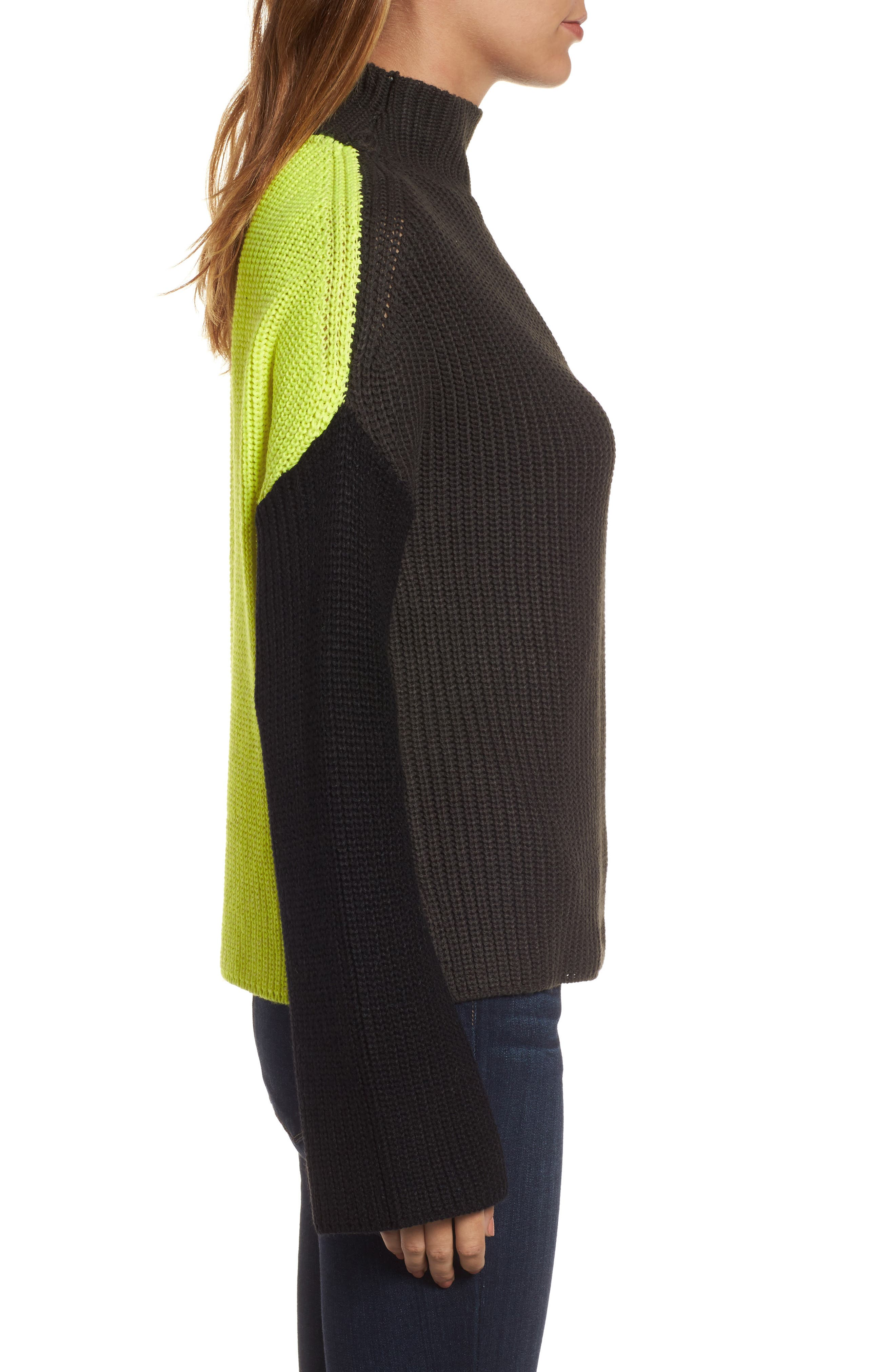 Colorblock Mock Turtleneck,                             Alternate thumbnail 3, color,                             Grey/ Black/ Yellow