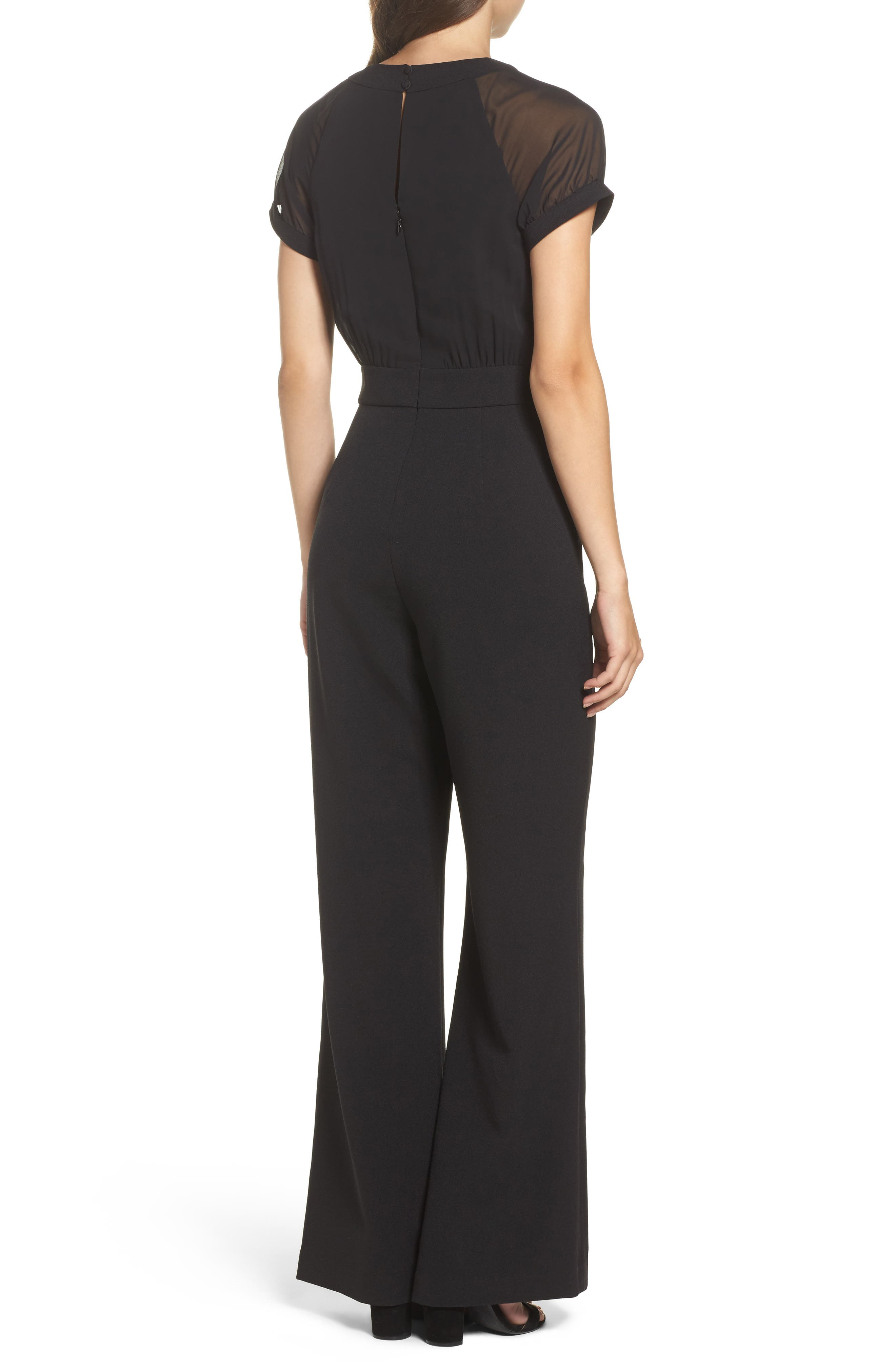 Chiffon & Crepe Jumpsuit,                             Alternate thumbnail 2, color,                             Black