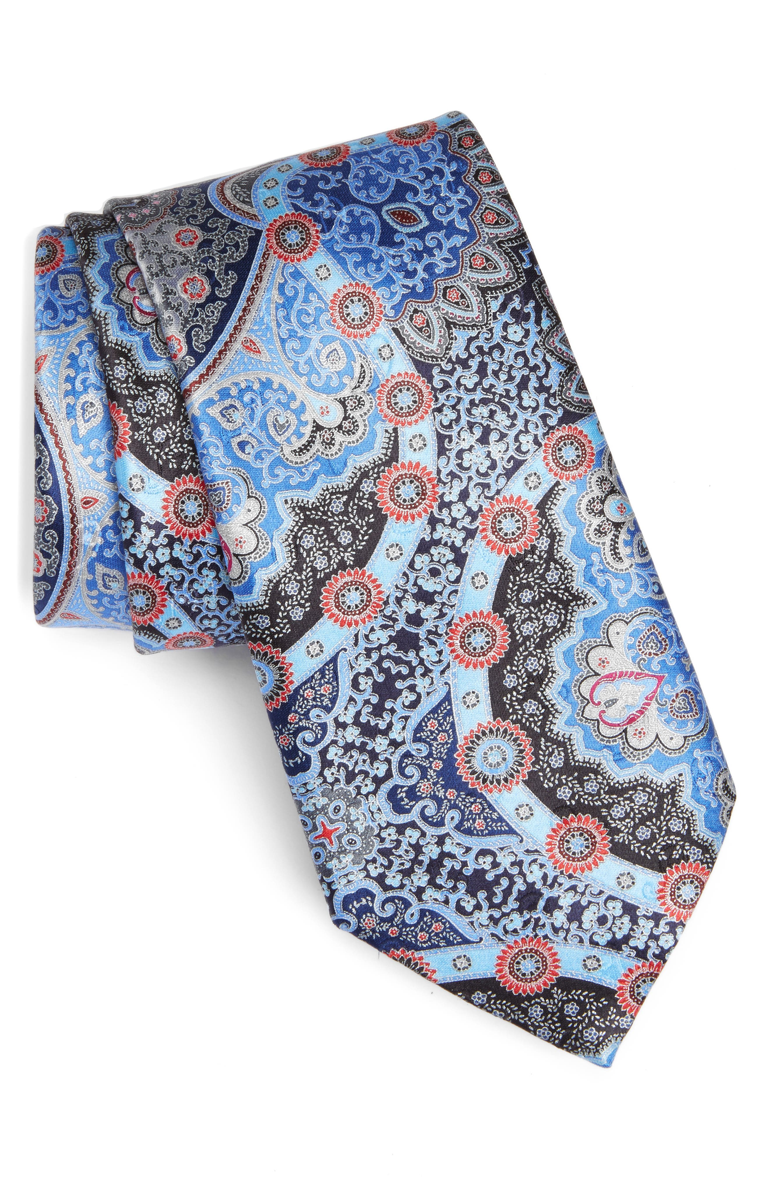 Quindici Paisley Silk Tie,                         Main,                         color, Blue