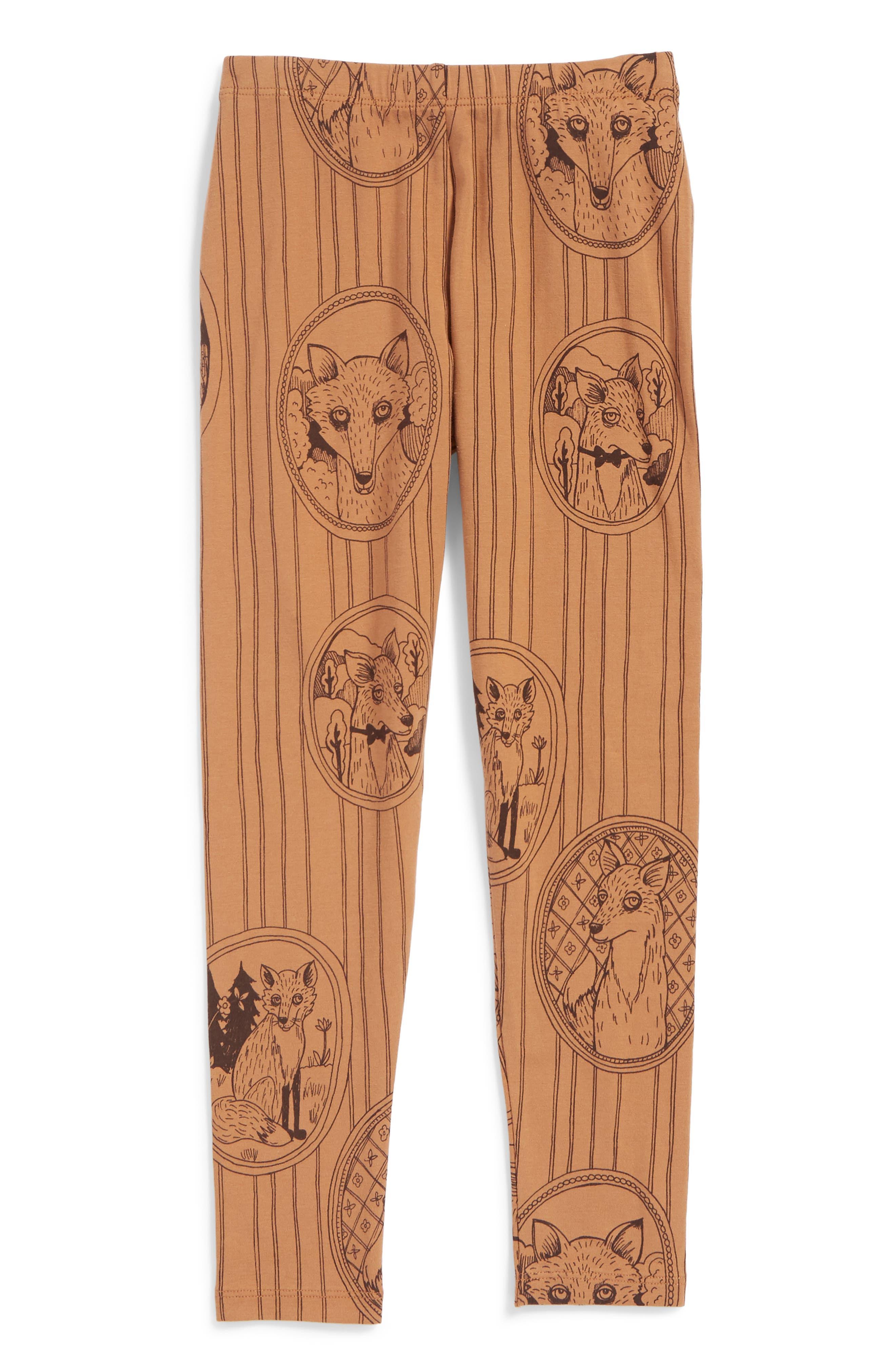 Alternate Image 1 Selected - Mini Rodini Fox Family Leggings (Toddler Girls & Little Girls)