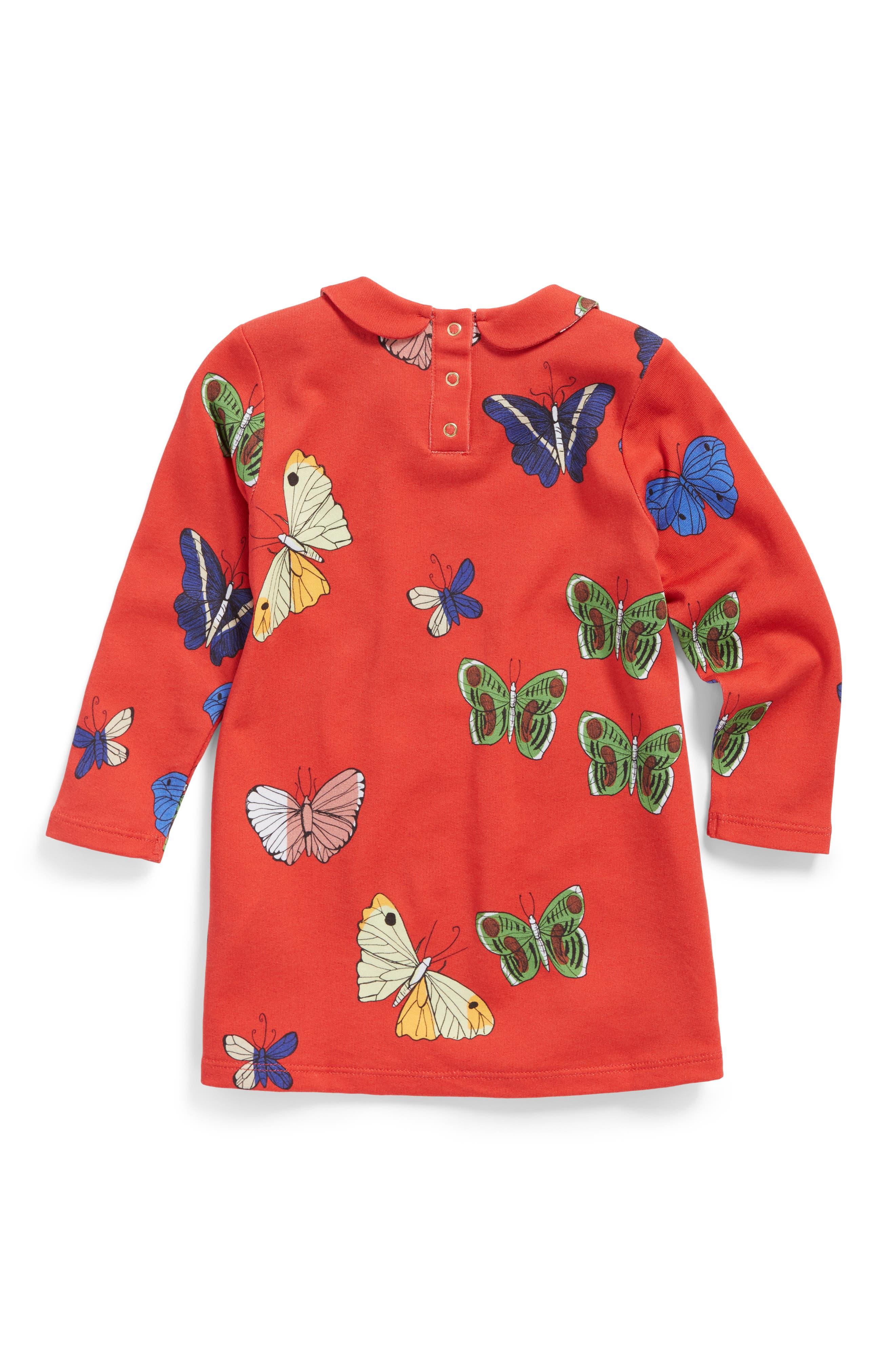 Alternate Image 2  - Mini Rodini Butterflies Peter Pan Collar Dress (Baby Girls)