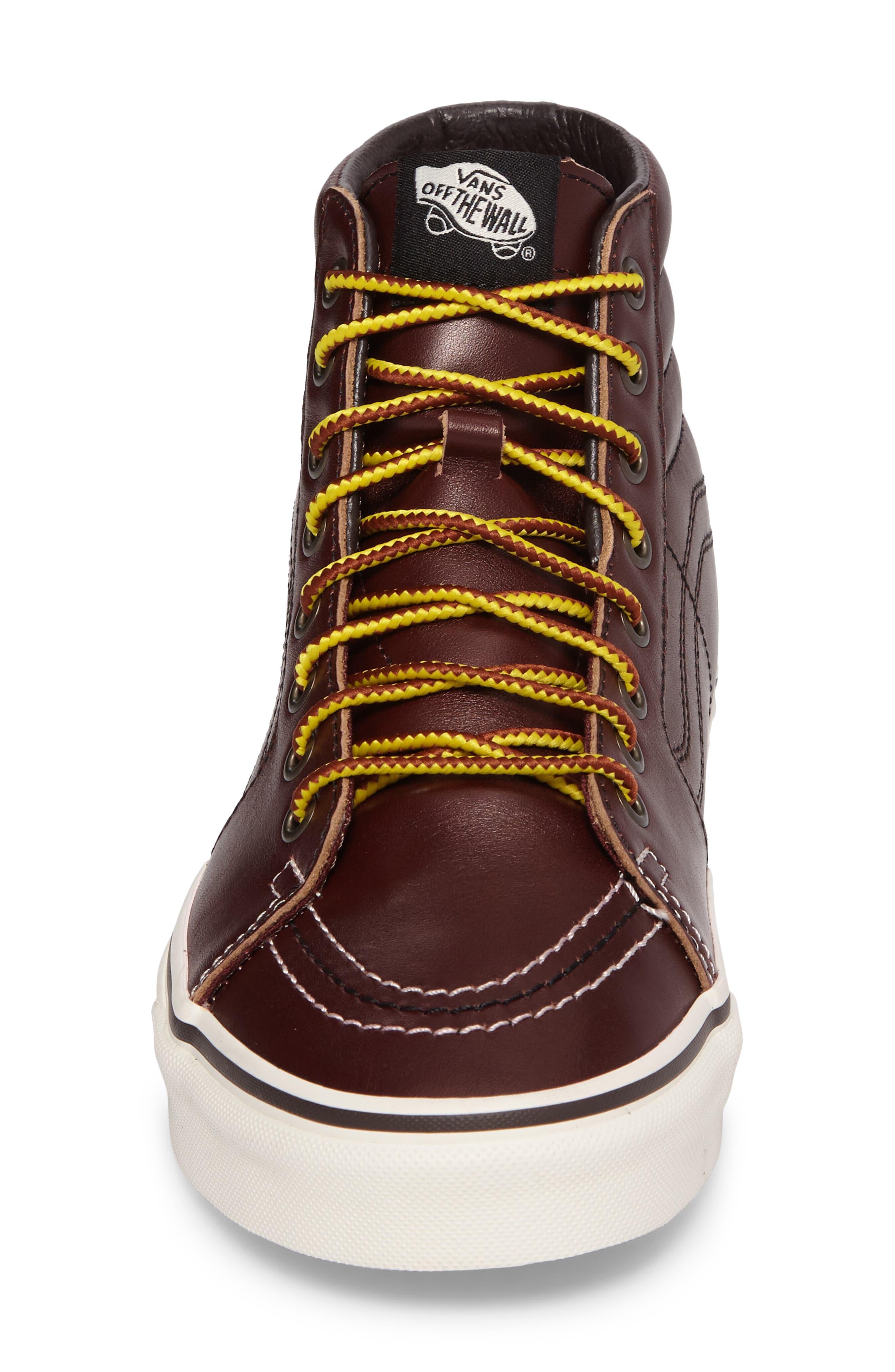 Sk8-Hi Sneaker,                             Alternate thumbnail 4, color,                             Rum Raisin/Marshmallow Leather