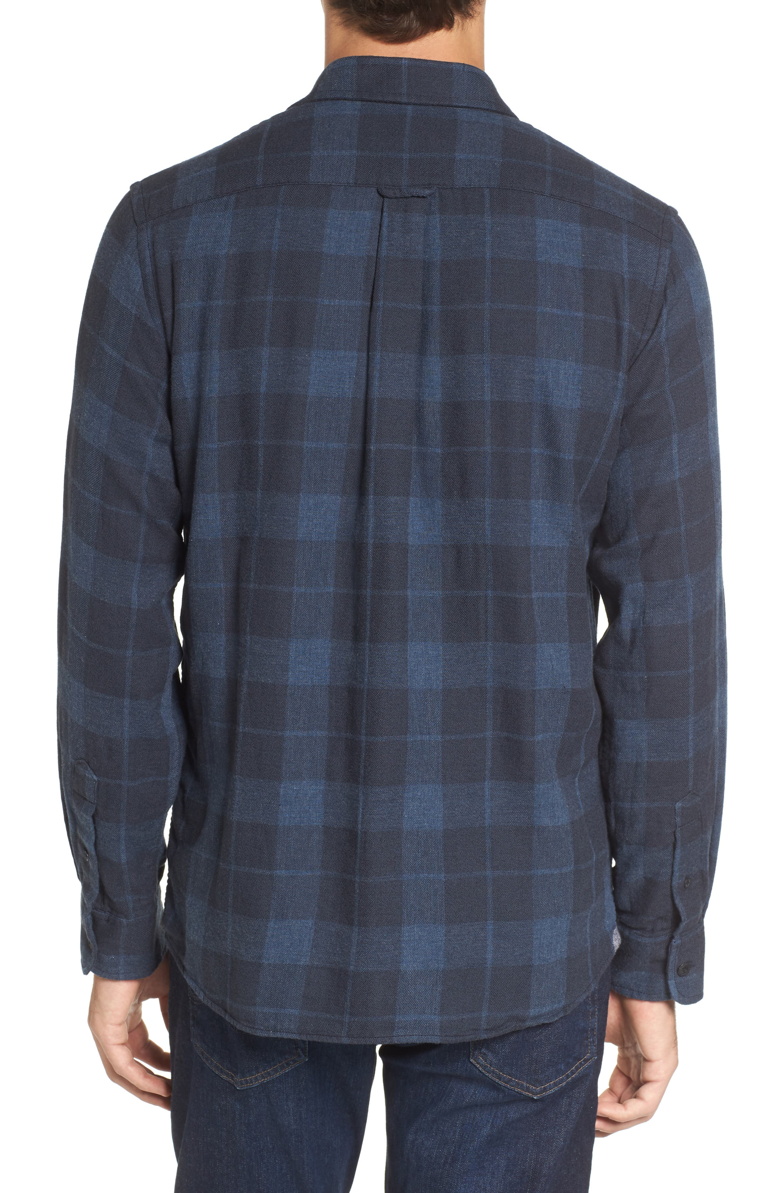 Helsby Double Cloth Plaid Sport Shirt,                             Alternate thumbnail 2, color,                             Charcoal Navy Heather