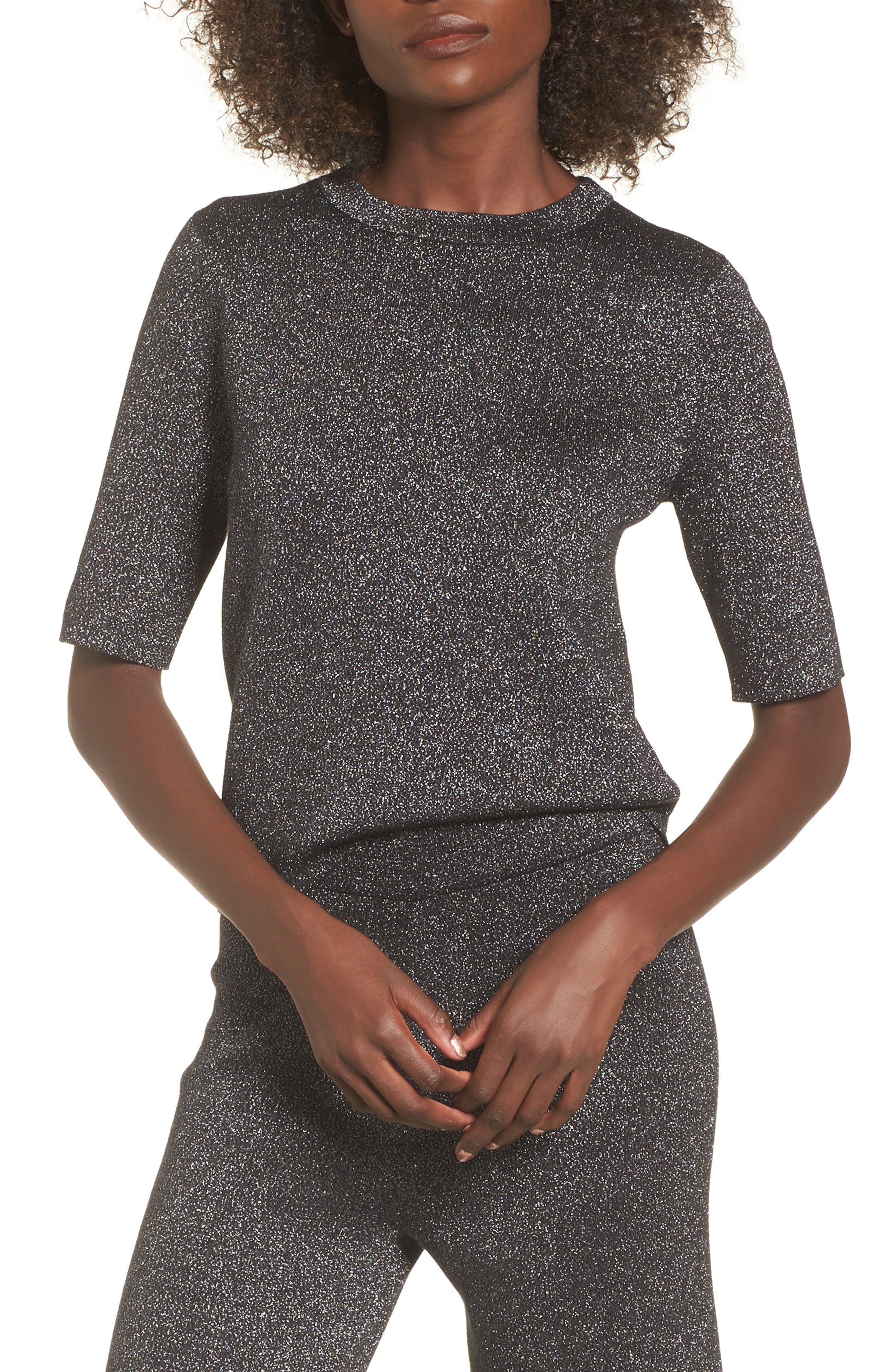 Crop Metallic Sweater,                             Main thumbnail 1, color,                             Black Metallic