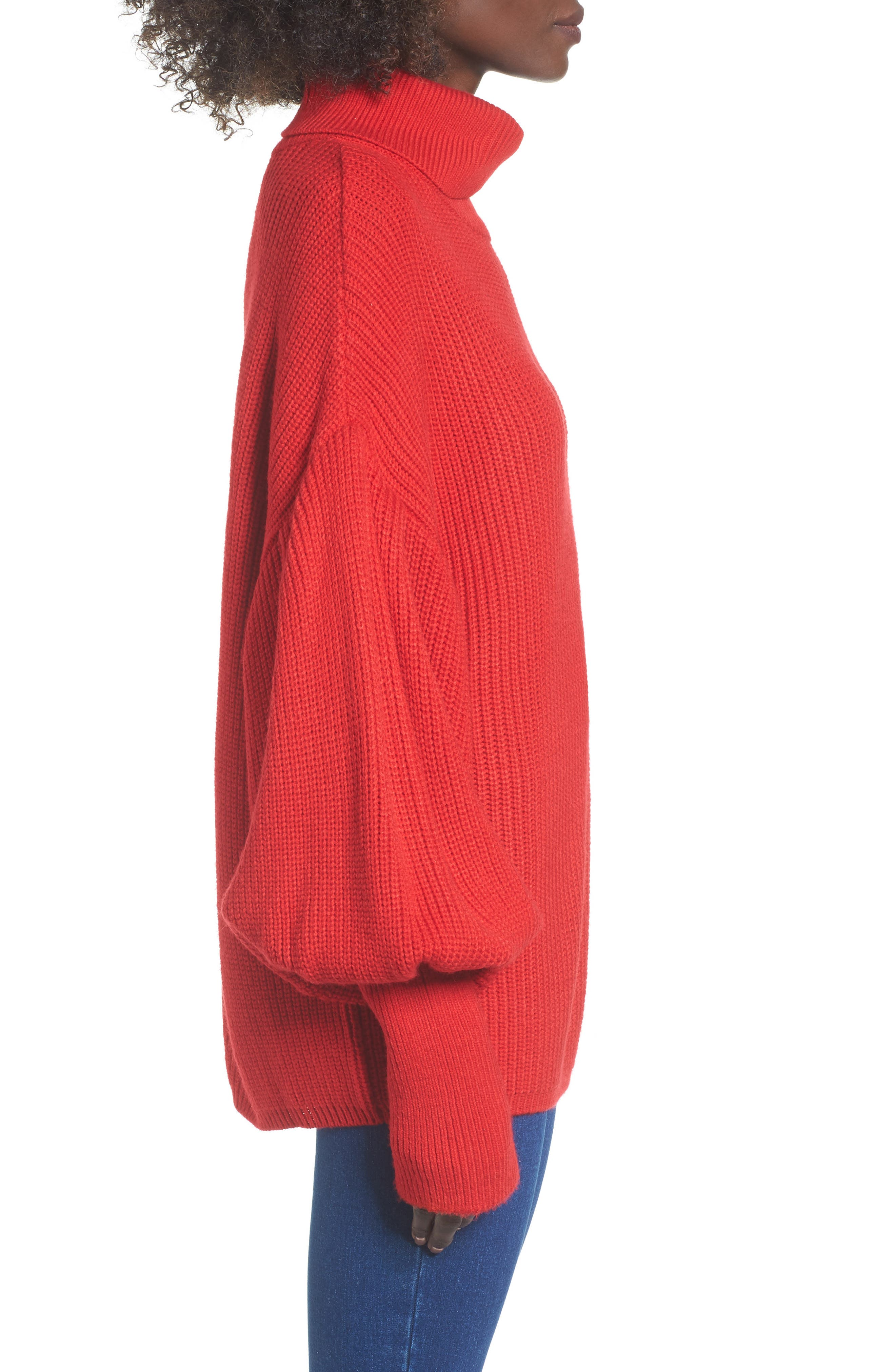 Balloon Sleeve Turtleneck Sweater,                             Alternate thumbnail 5, color,                             Red