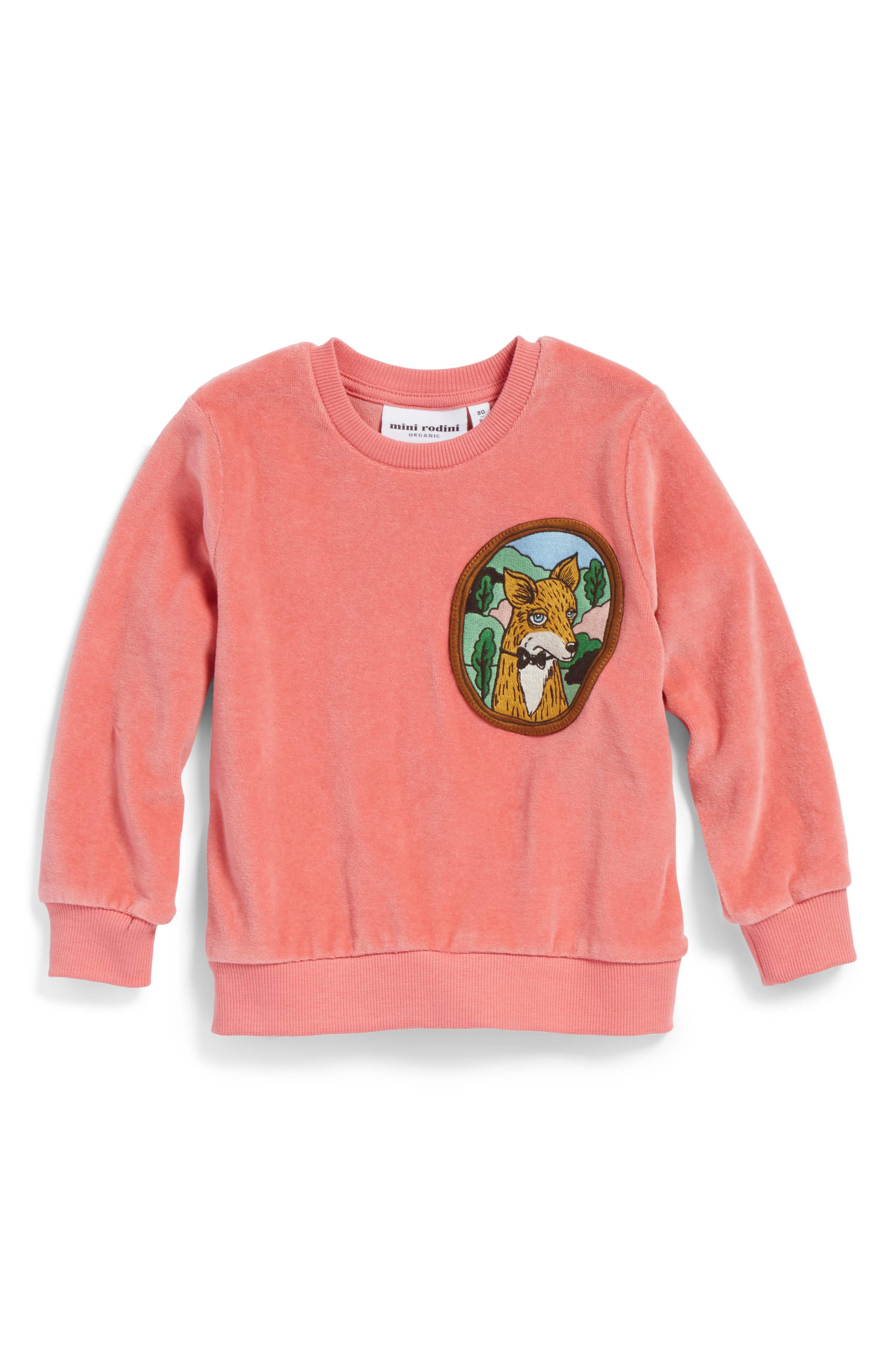 Alternate Image 1 Selected - Mini Rodini Fox Patch Velour Sweatshirt (Baby Girls)