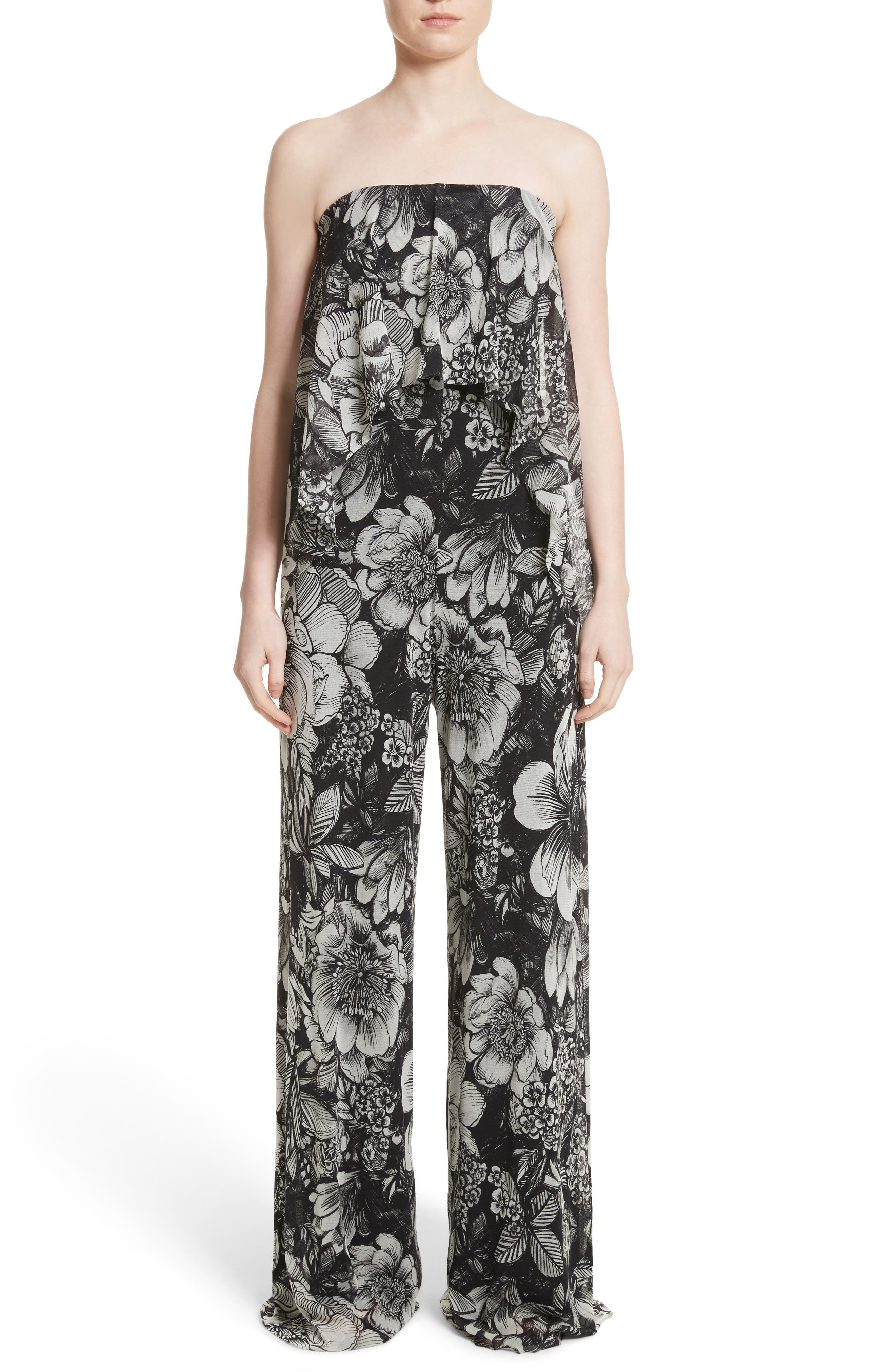 Fuzzi Popover Strapless Floral Print Tulle Jumpsuit