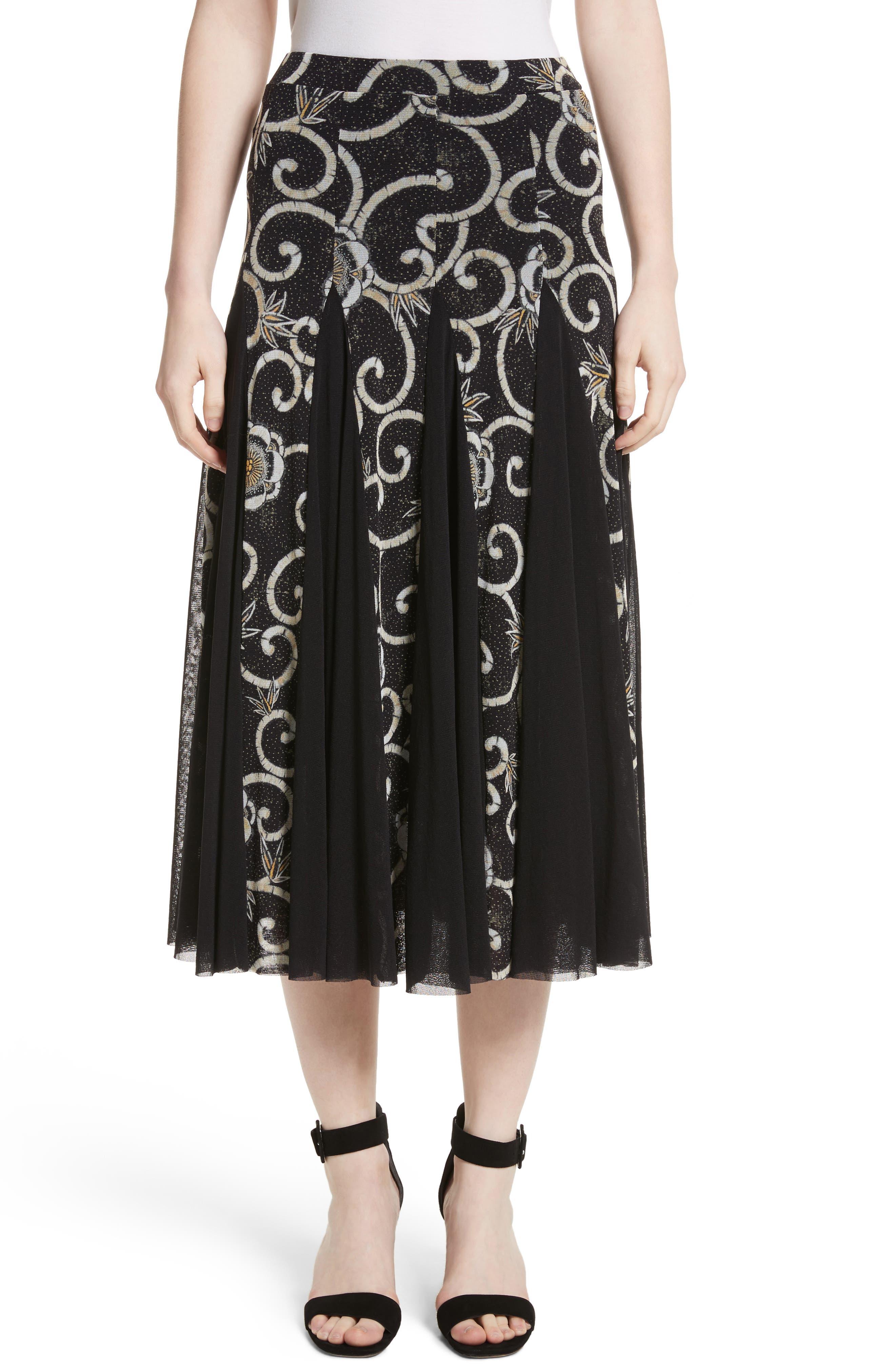 Fuzzi Pleated Print Tulle Midi Skirt