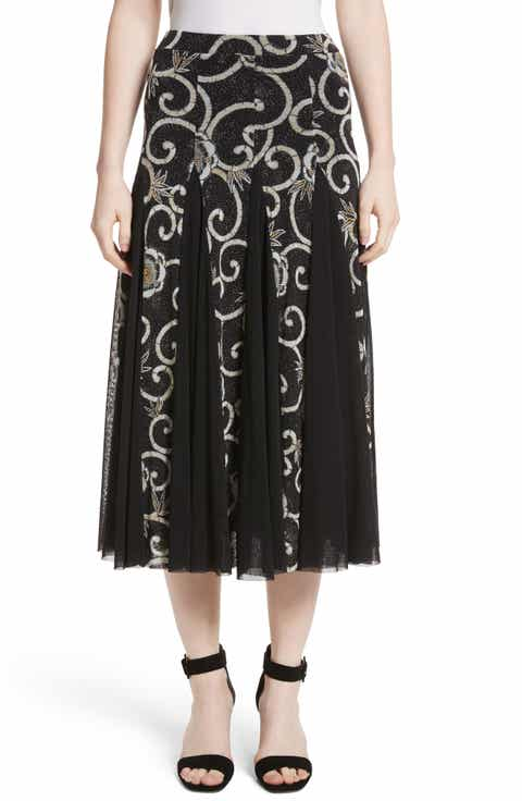Fuzzi Pleated Print Tulle Midi Skirt