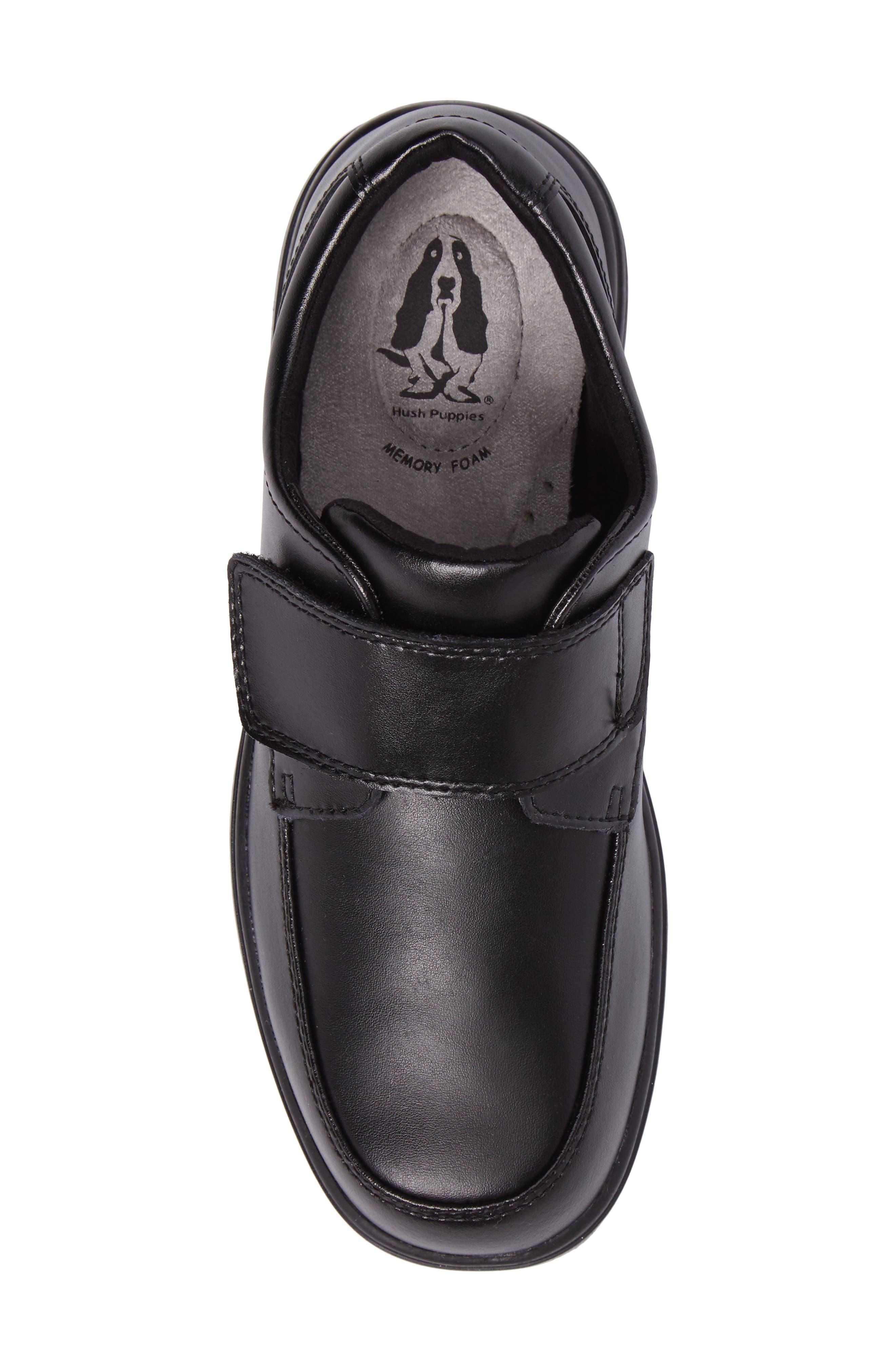 Hush Puppies Gavin Front Strap Dress Shoe,                             Alternate thumbnail 5, color,                             Black Leather