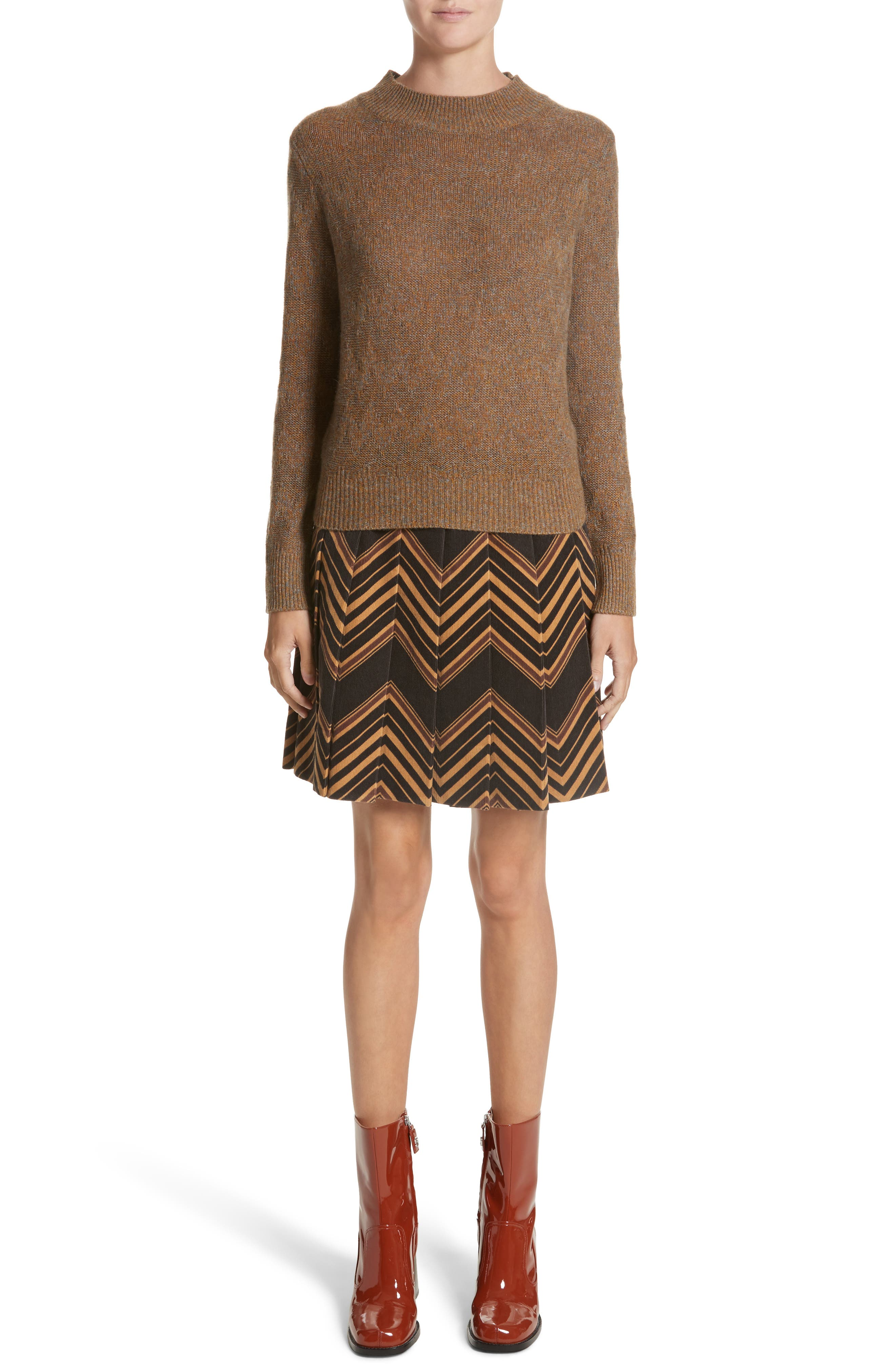 Chevron Knit Cashmere Sweater,                             Alternate thumbnail 7, color,                             Brown