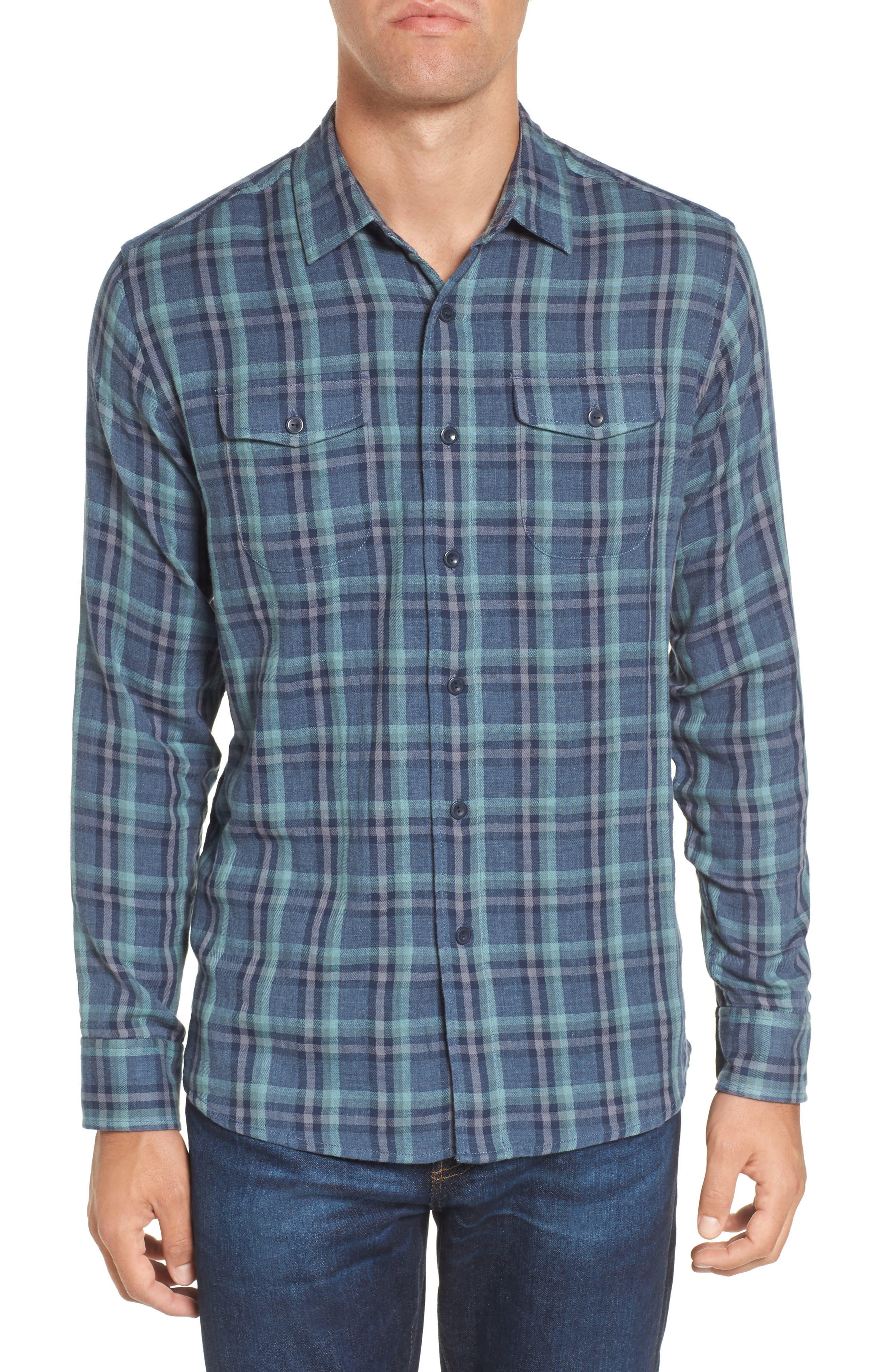 Smith Double Cloth Plaid Sport Shirt,                             Main thumbnail 1, color,                             Blue Navy Seafoam