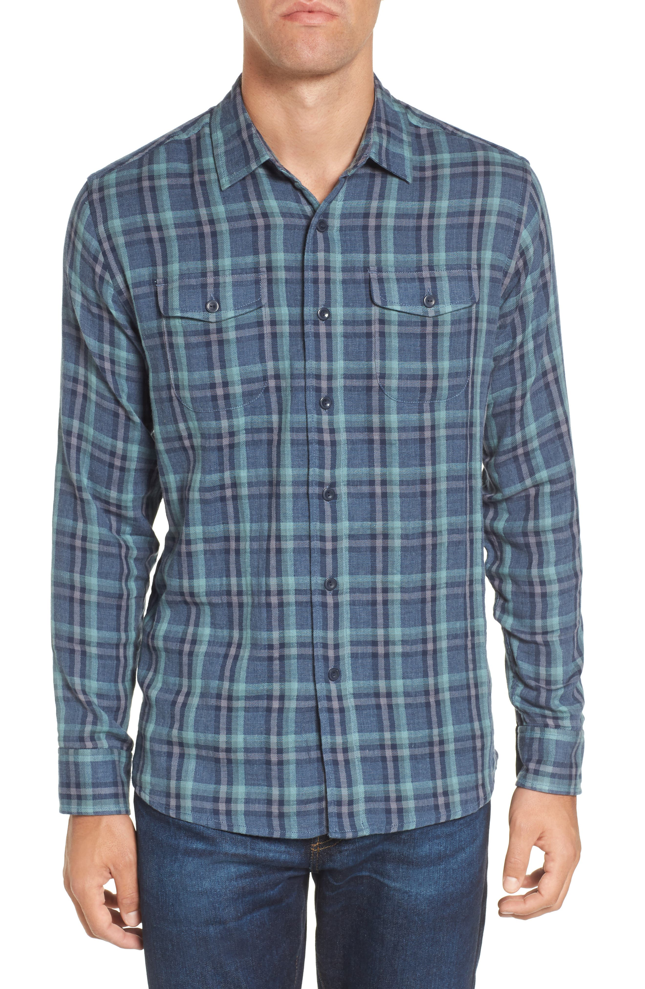 Smith Double Cloth Plaid Sport Shirt,                         Main,                         color, Blue Navy Seafoam