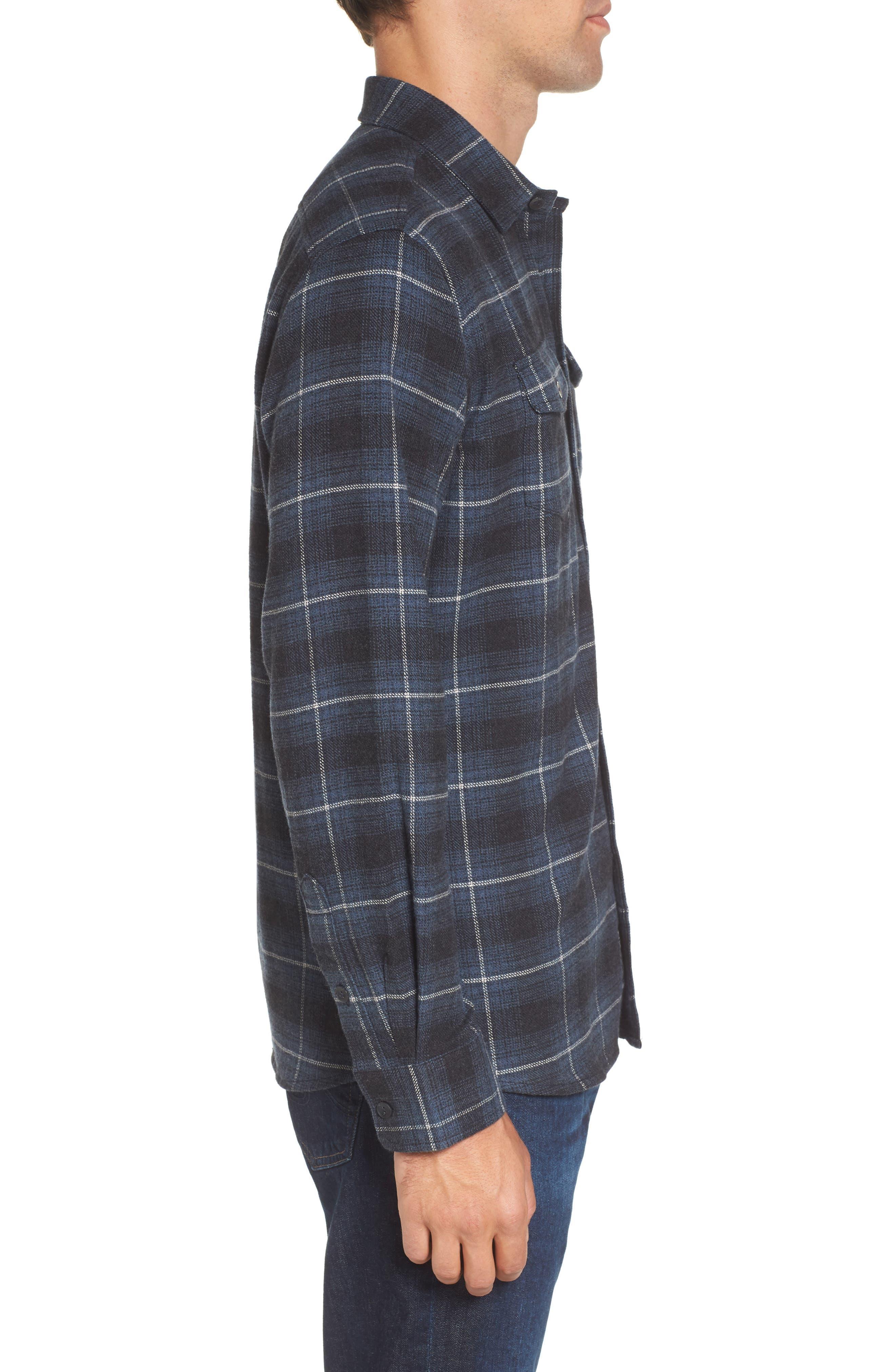 Clarke Heritage Flannel Shirt,                             Alternate thumbnail 3, color,                             Blue Charcoal