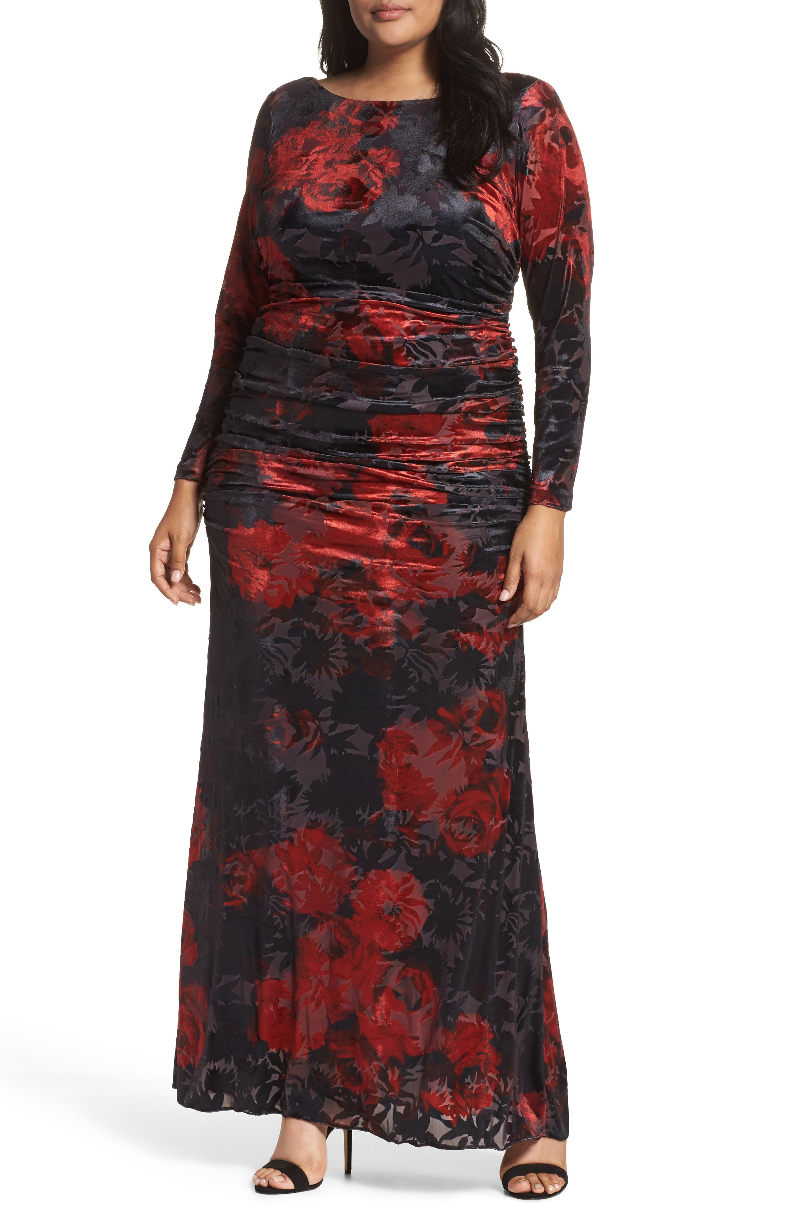 Adriana Papell Burnout Velvet Gown (Plus Size)