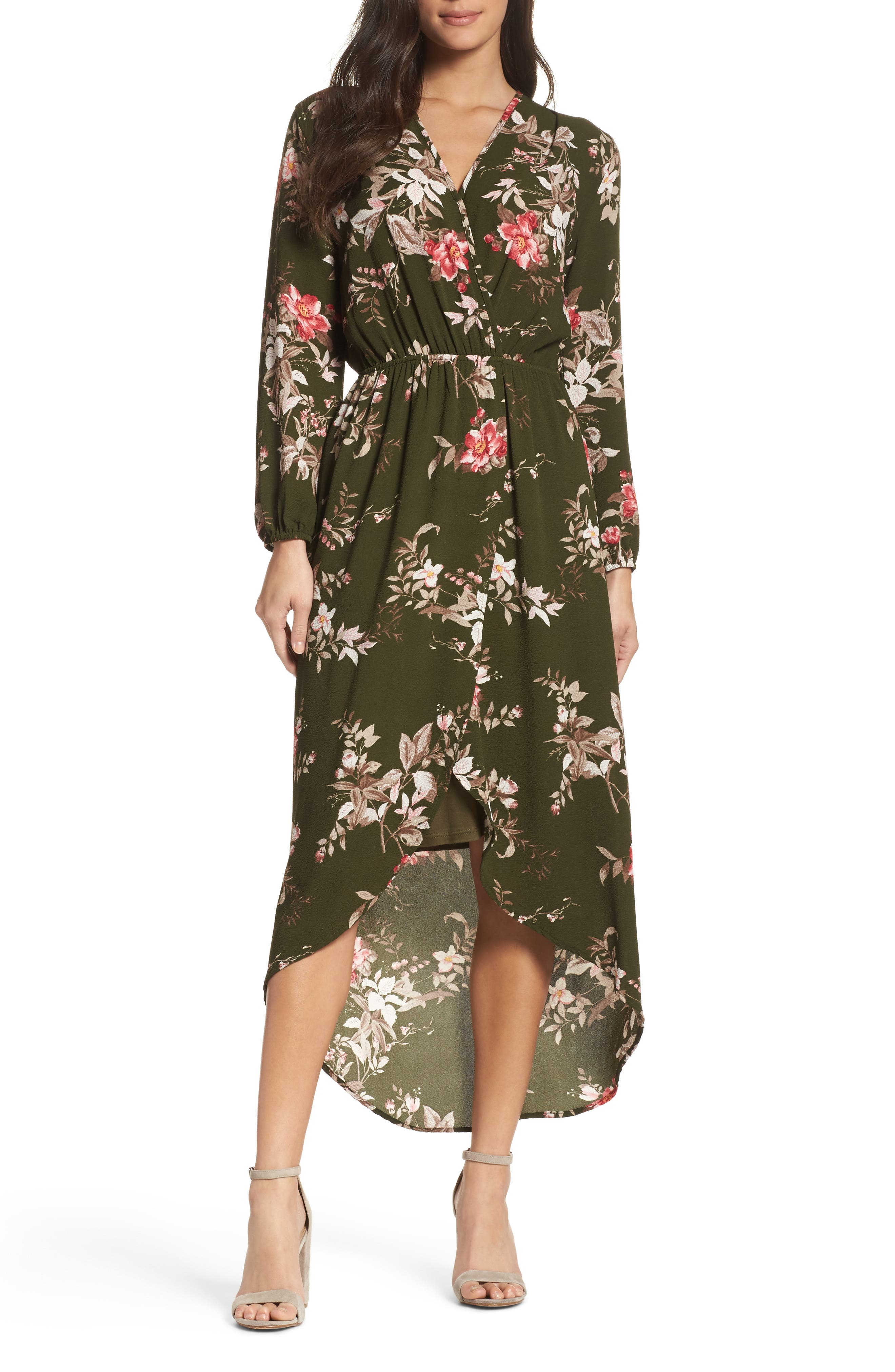 High/Low Maxi Dress,                         Main,                         color, Kaily Olive