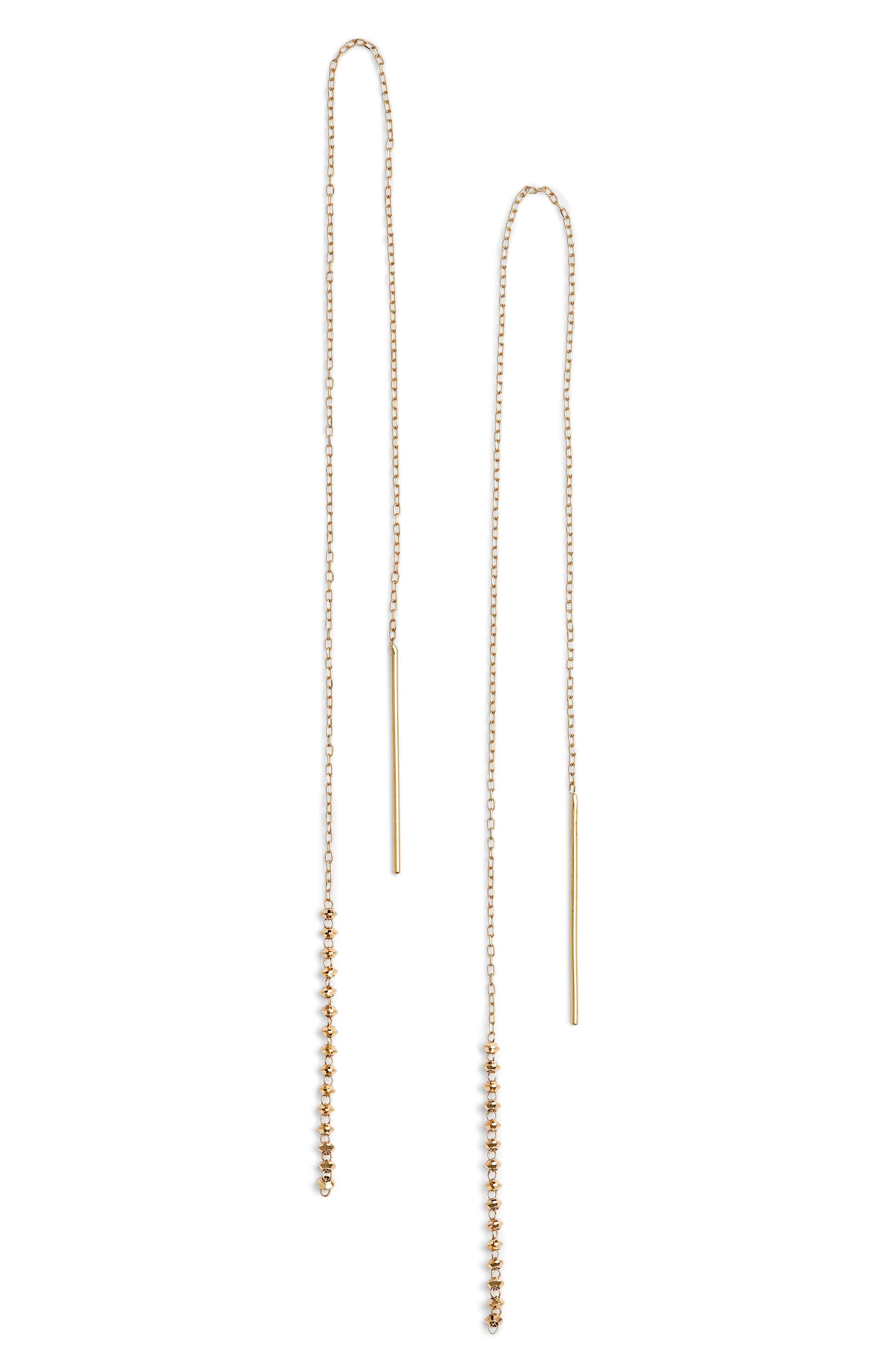 Long Shimmer Threader Earrings,                         Main,                         color, Yellow Gold