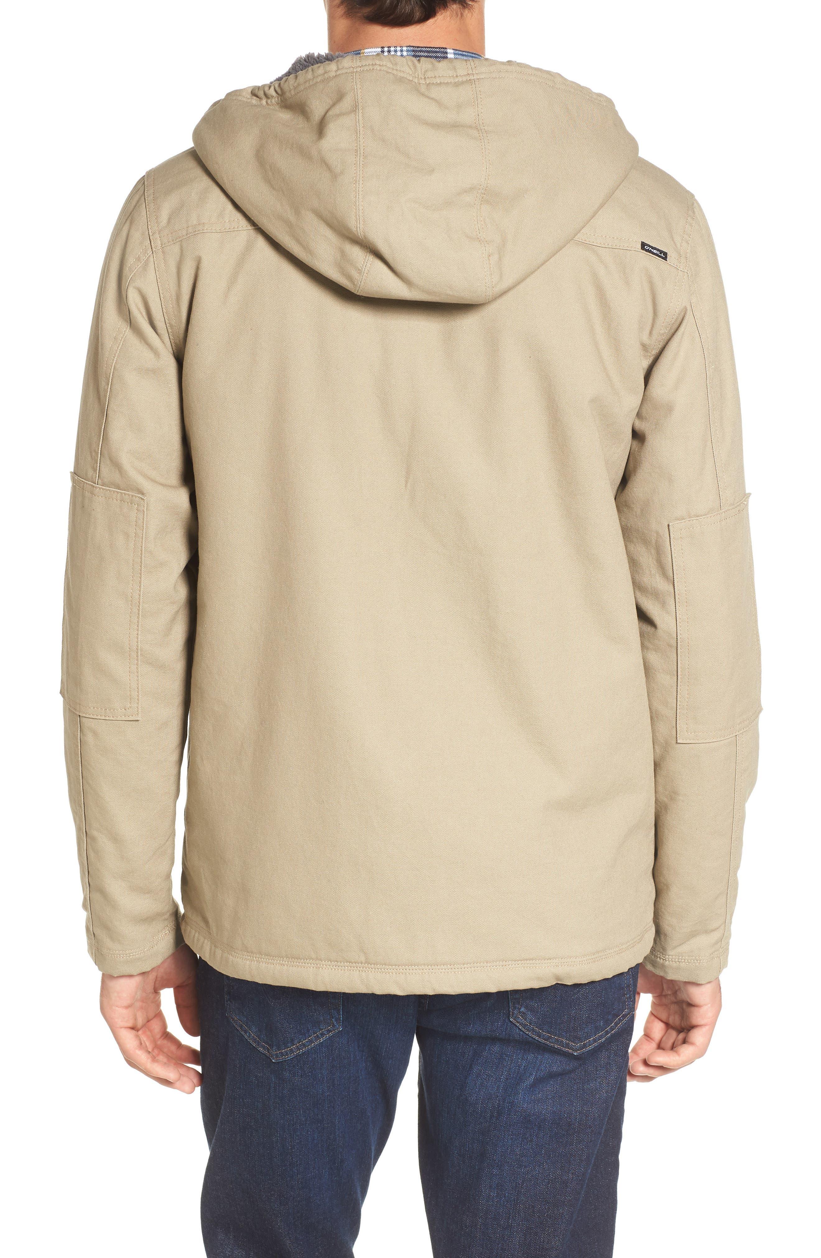 Colton Faux Shearling Trim Hooded Jacket,                             Alternate thumbnail 2, color,                             Khaki