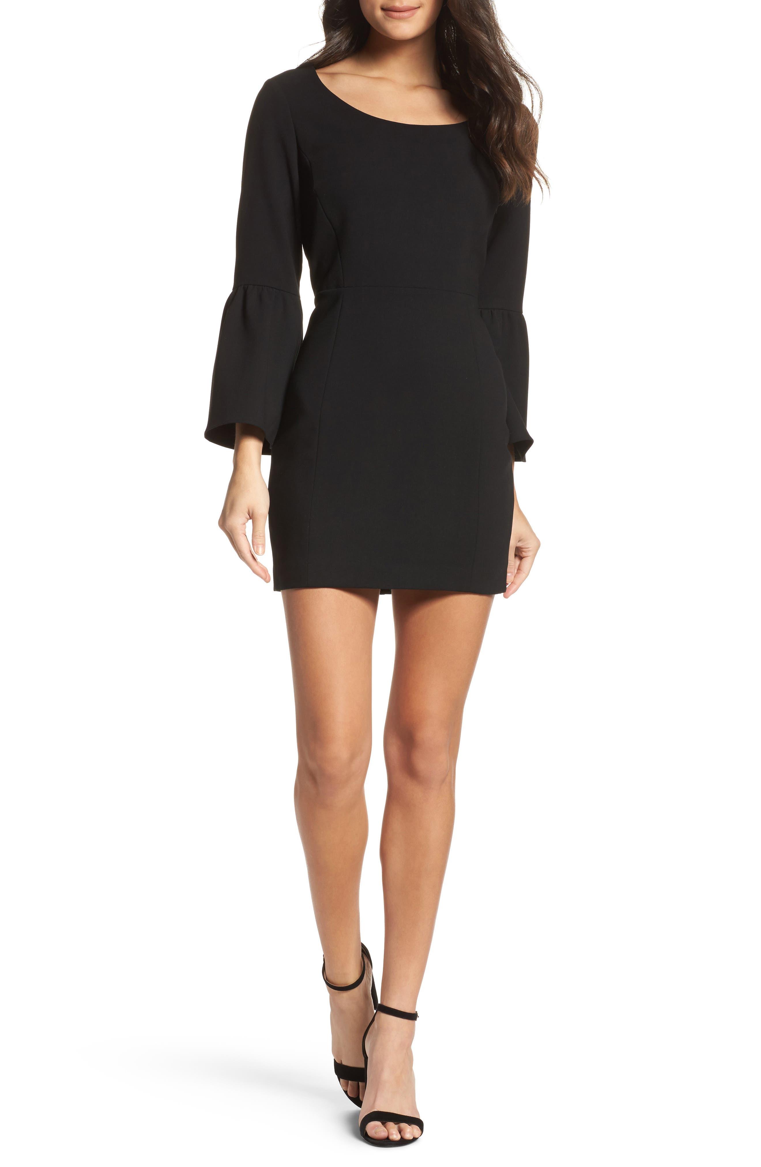 Whisper Ruth Bell Sleeve Sheath Dress,                         Main,                         color, Black