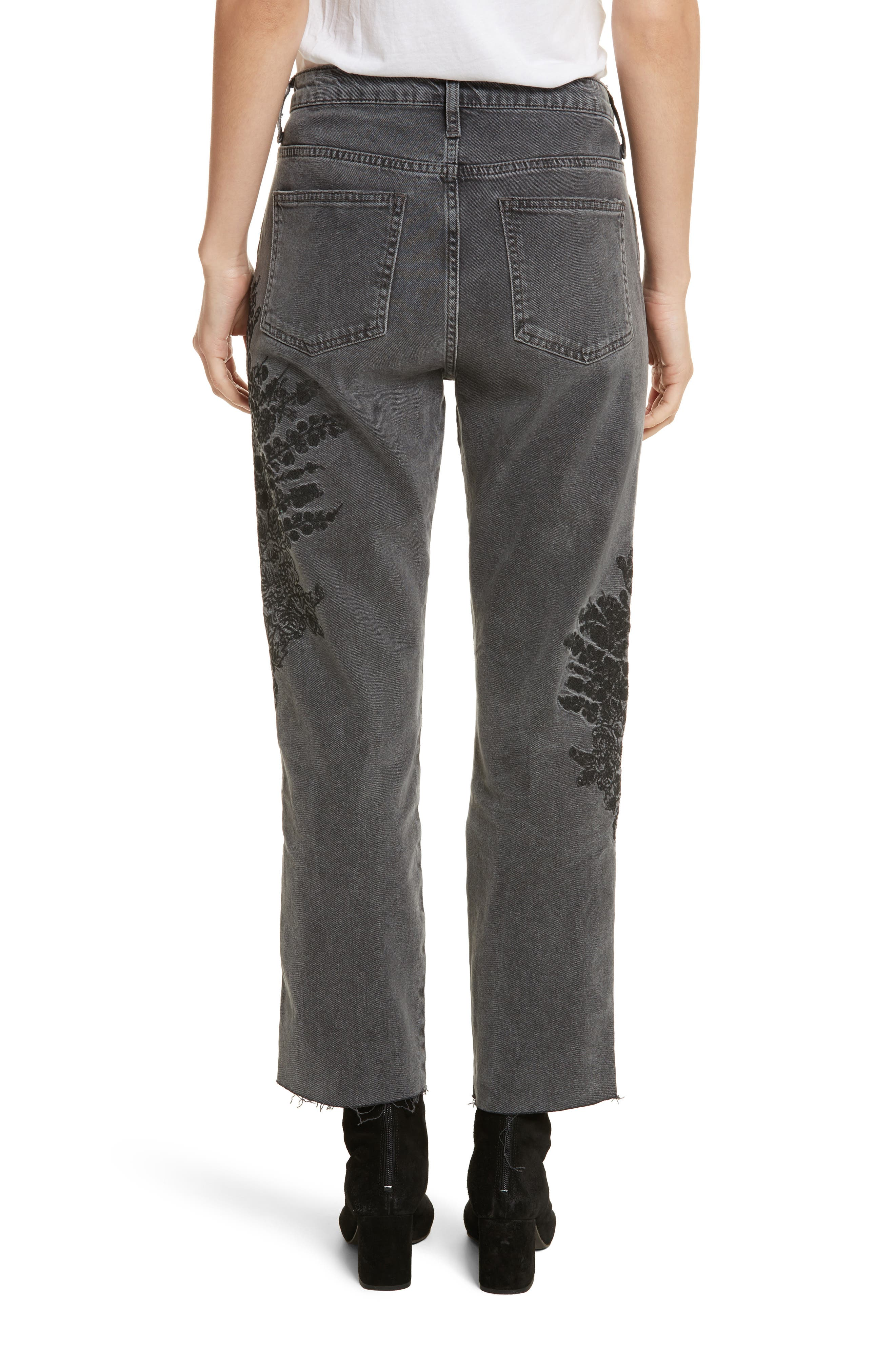 Embroidered Crop Girlfriend Jeans,                             Alternate thumbnail 2, color,                             Grey