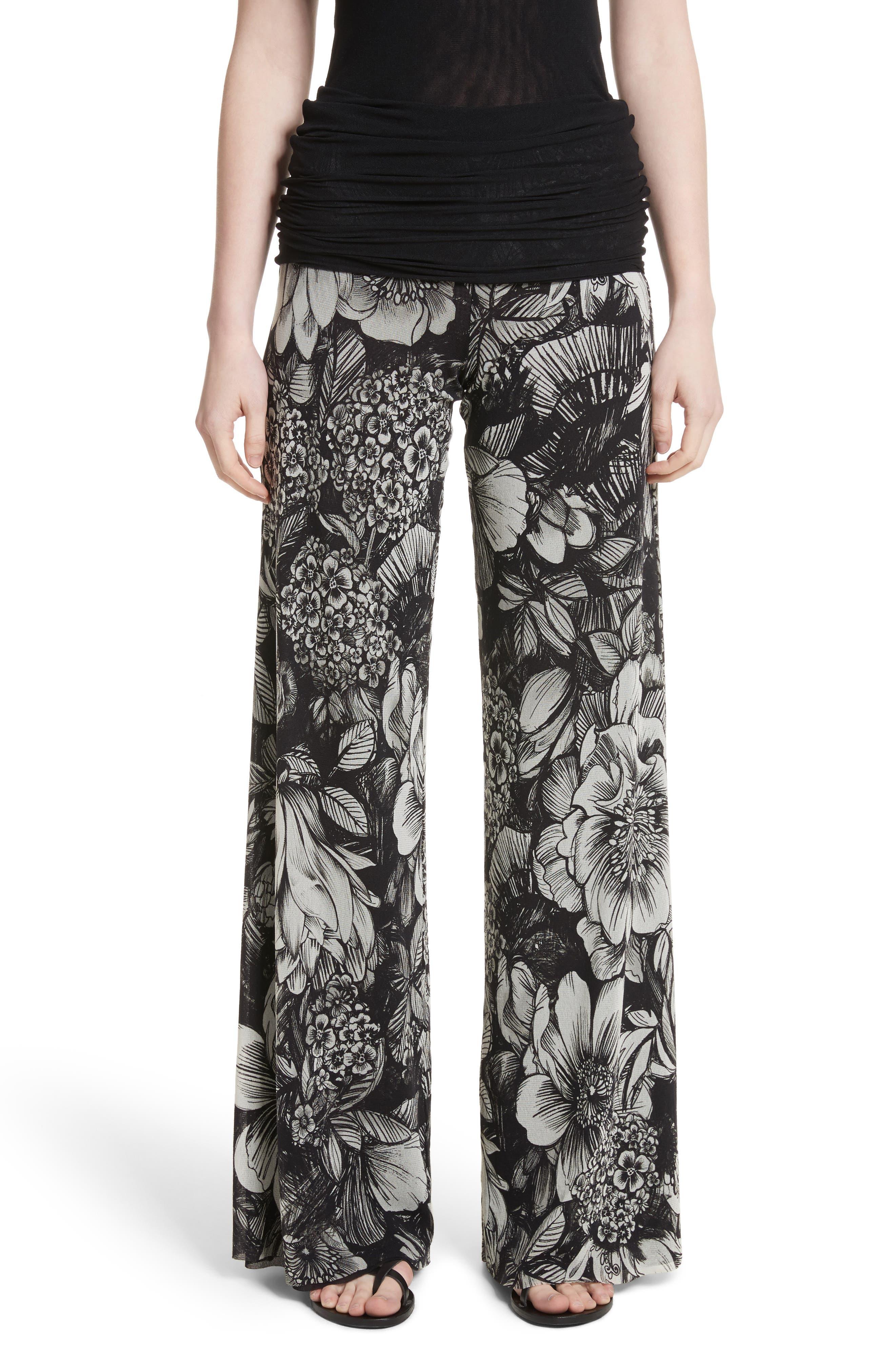 Print Tulle Wide Leg Pants,                         Main,                         color, Nero