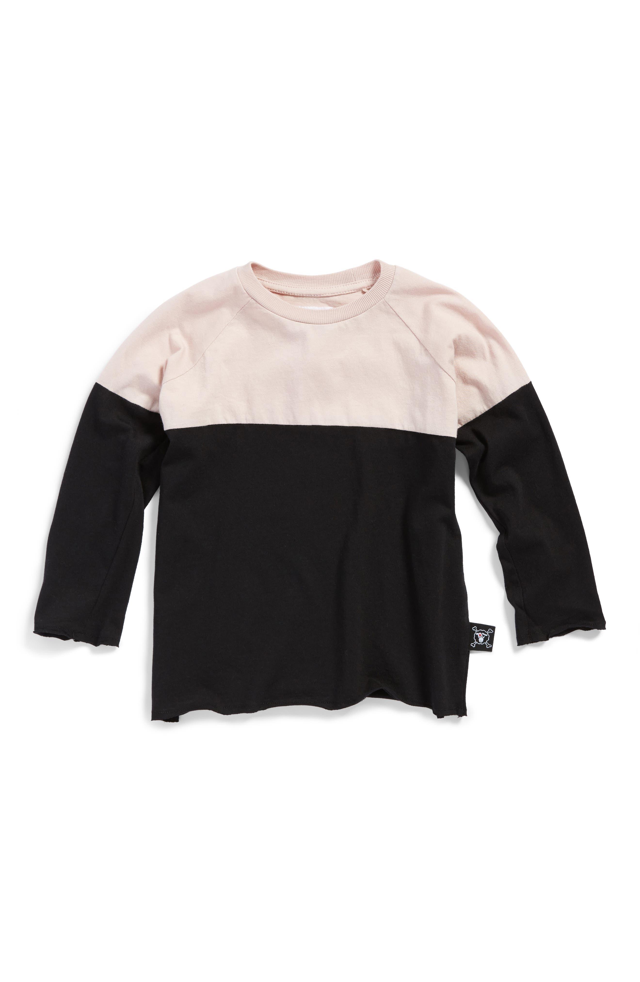 Alternate Image 1 Selected - NUNUNU Color Block Shirt (Toddler Girls & Little Girls)