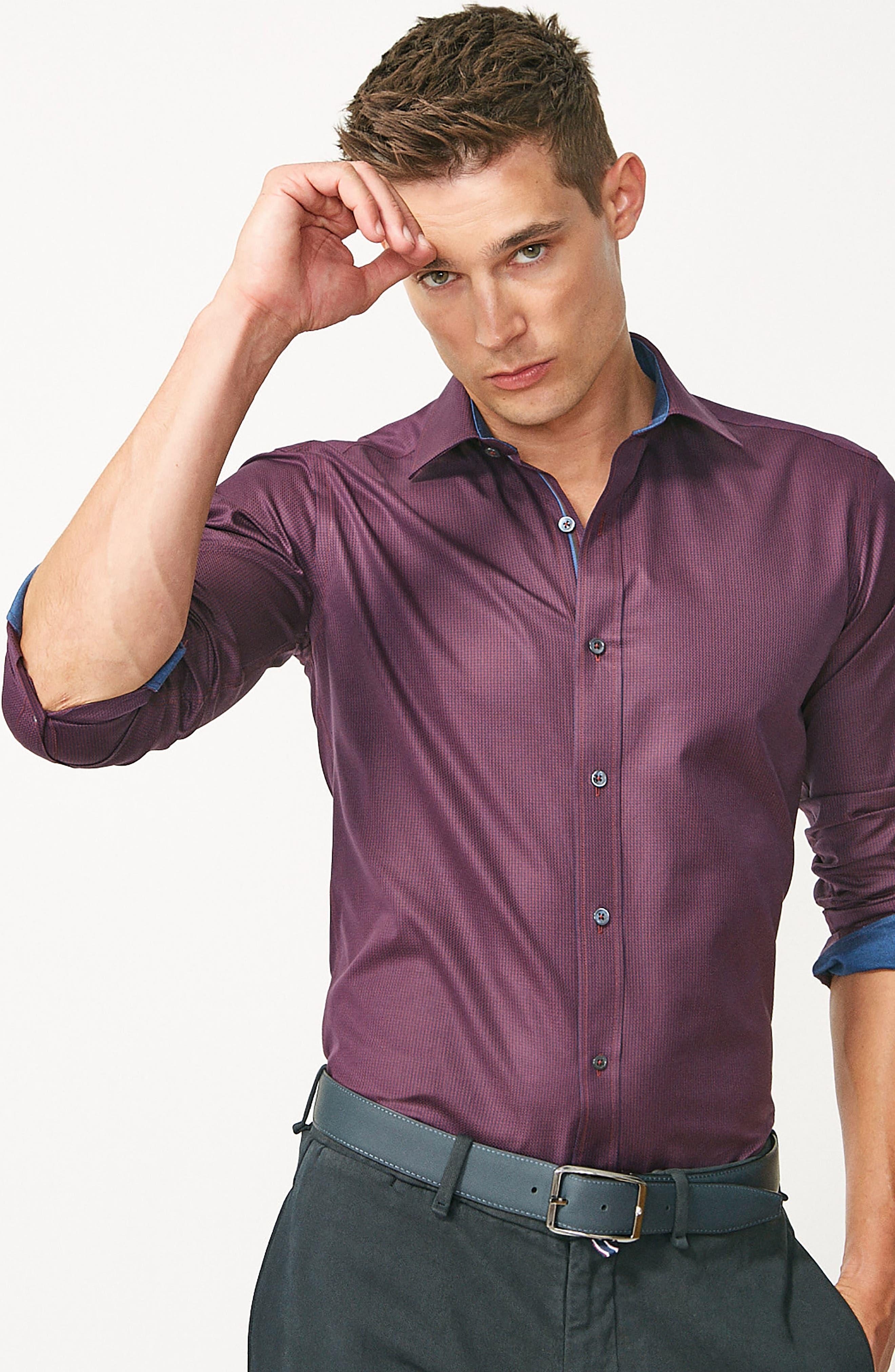 Alternate Image 8  - Bugatchi Shaped Fit Sport Shirt