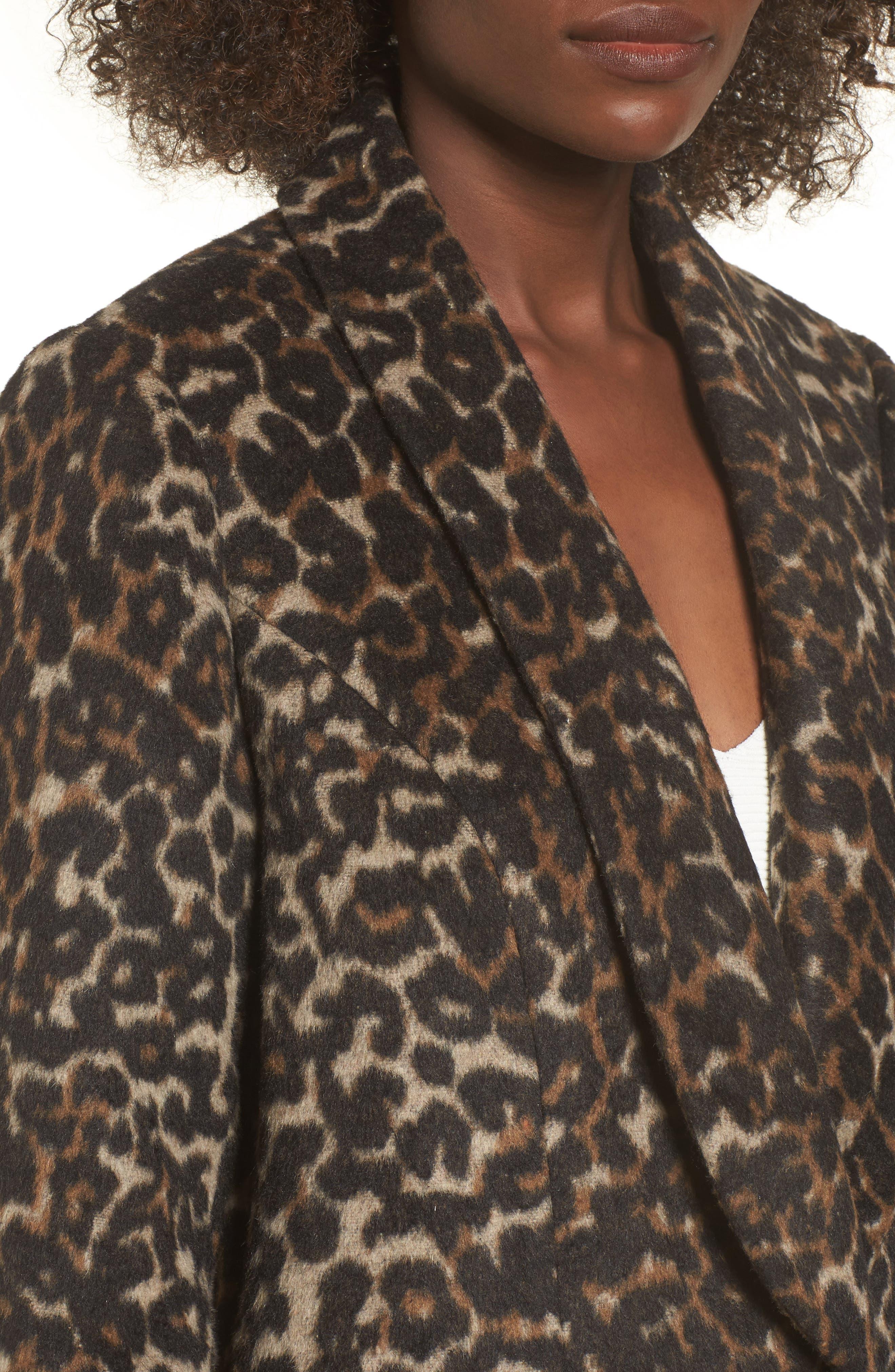 Longline Leopard Print Coat,                             Alternate thumbnail 4, color,                             Black Leopard