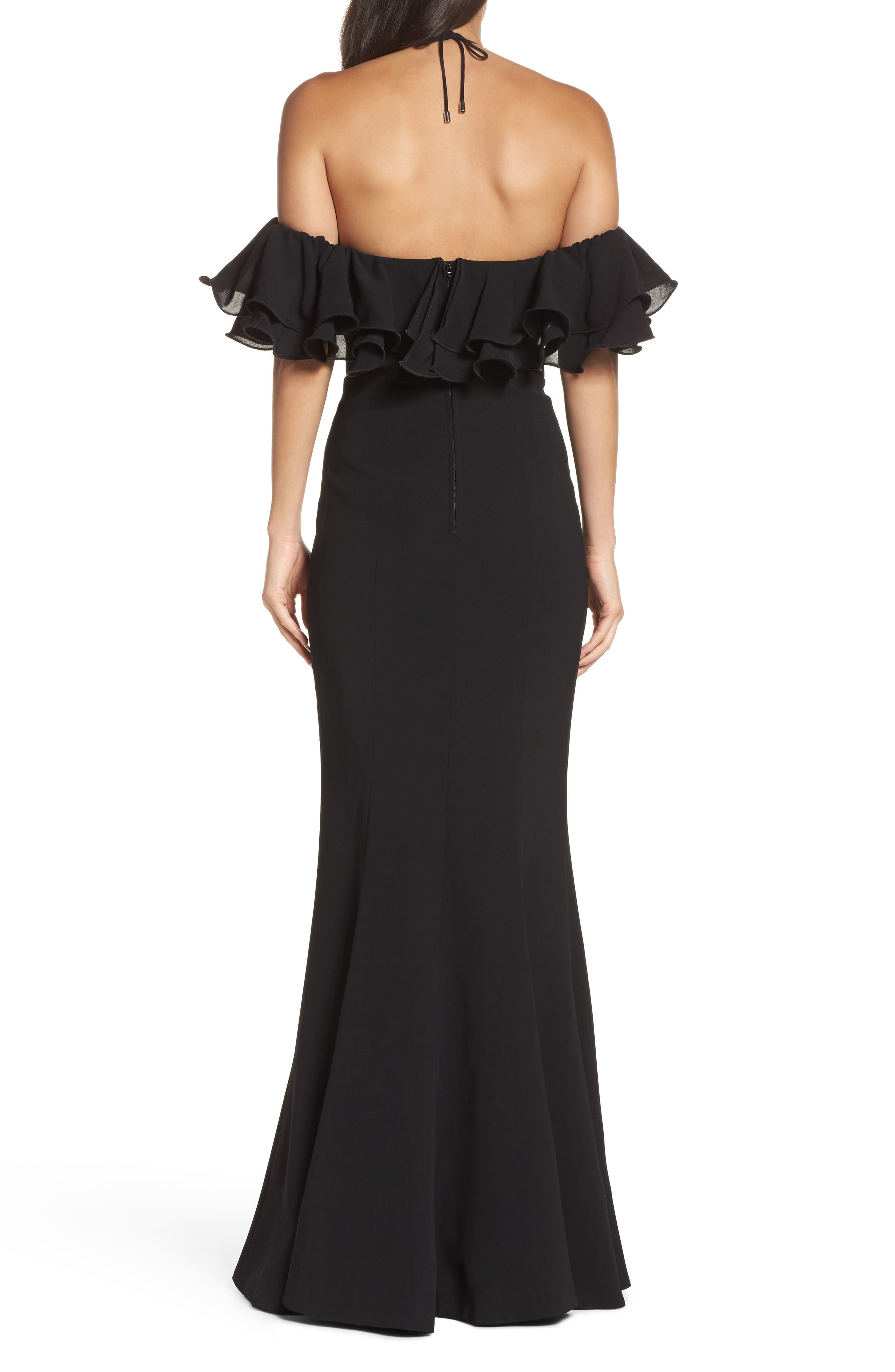 Immerse Ruffle Halter Gown,                             Alternate thumbnail 2, color,                             Black