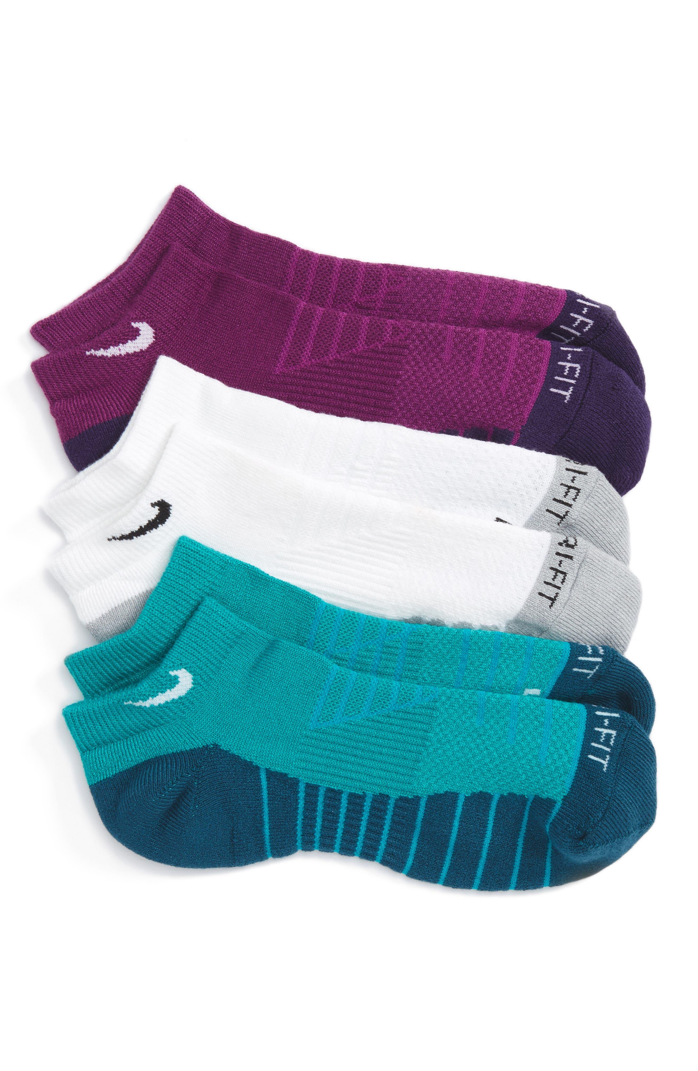 Alternate Image 1 Selected - Nike 3-Pack Cushioned Dri-FIT No-Show Socks (Big Kid)