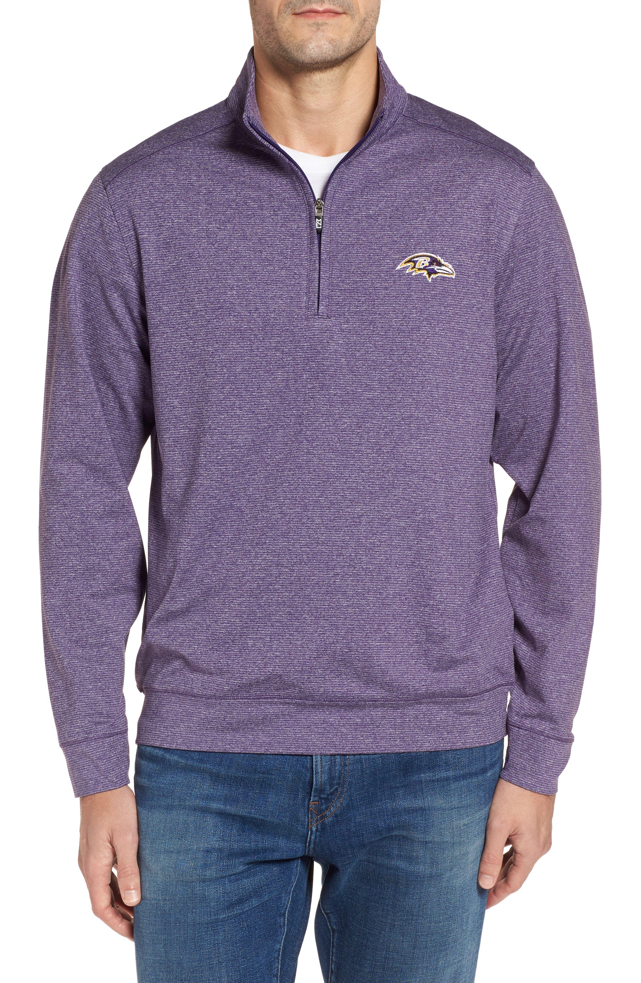 Shoreline - Baltimore Ravens Half Zip Pullover,                             Main thumbnail 1, color,                             College Purple Heather