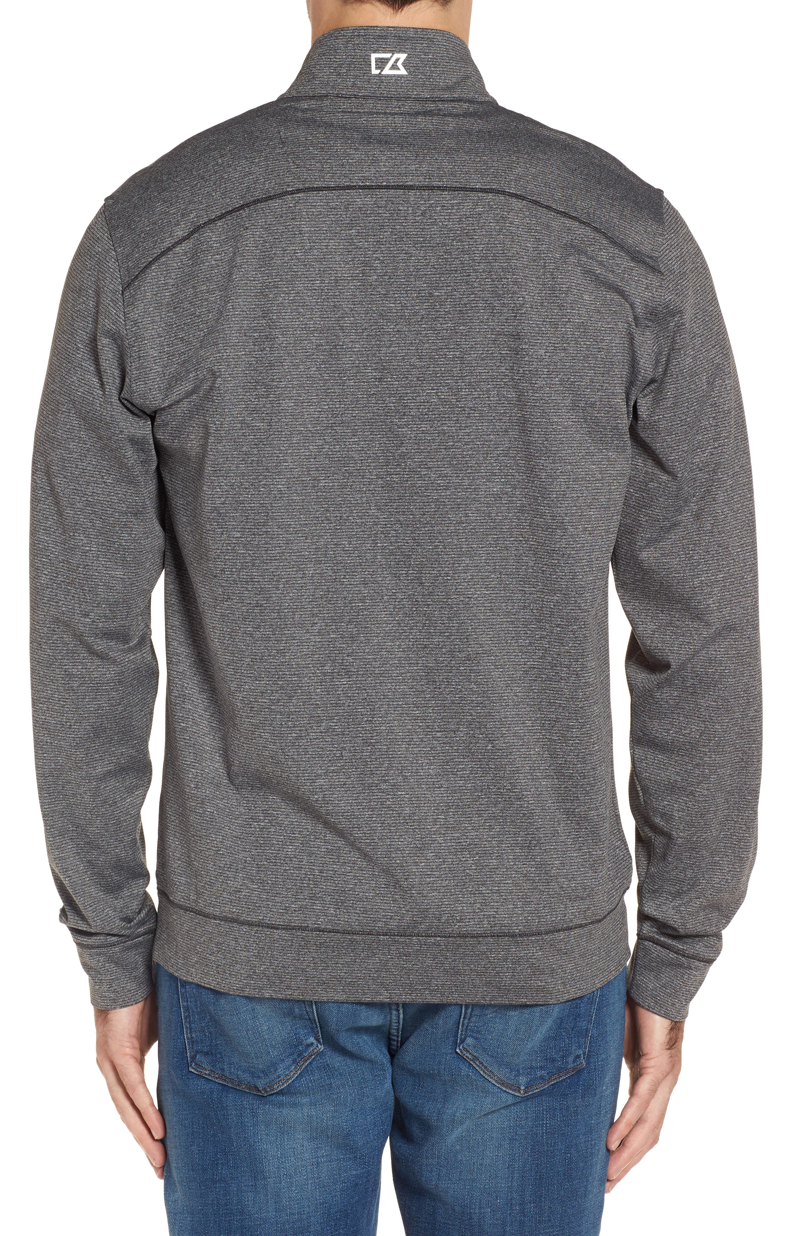 Cutter & Butter Shoreline - Miami Dolphins Half Zip Pullover,                             Alternate thumbnail 2, color,                             Charcoal Heather
