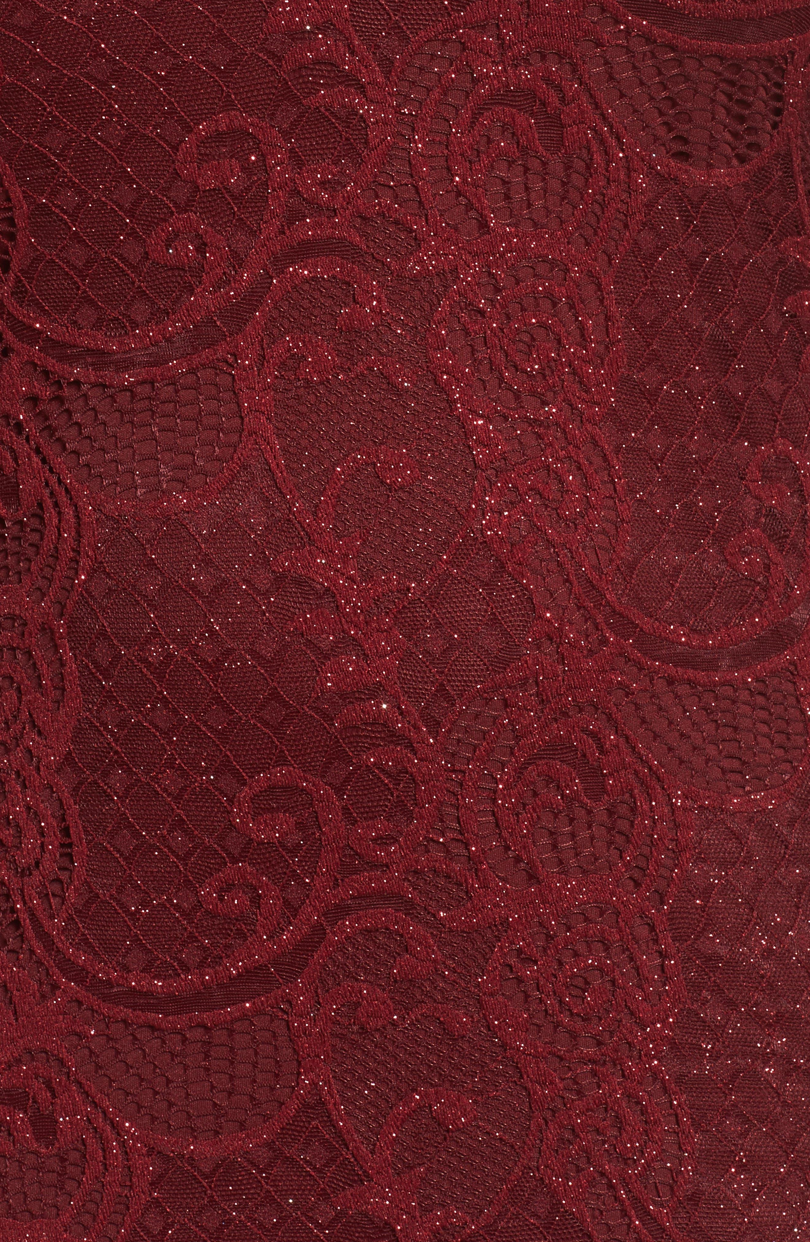 Alternate Image 5  - Marina Bell Sleeve Glitter Lace Sheath Dress (Plus Size)