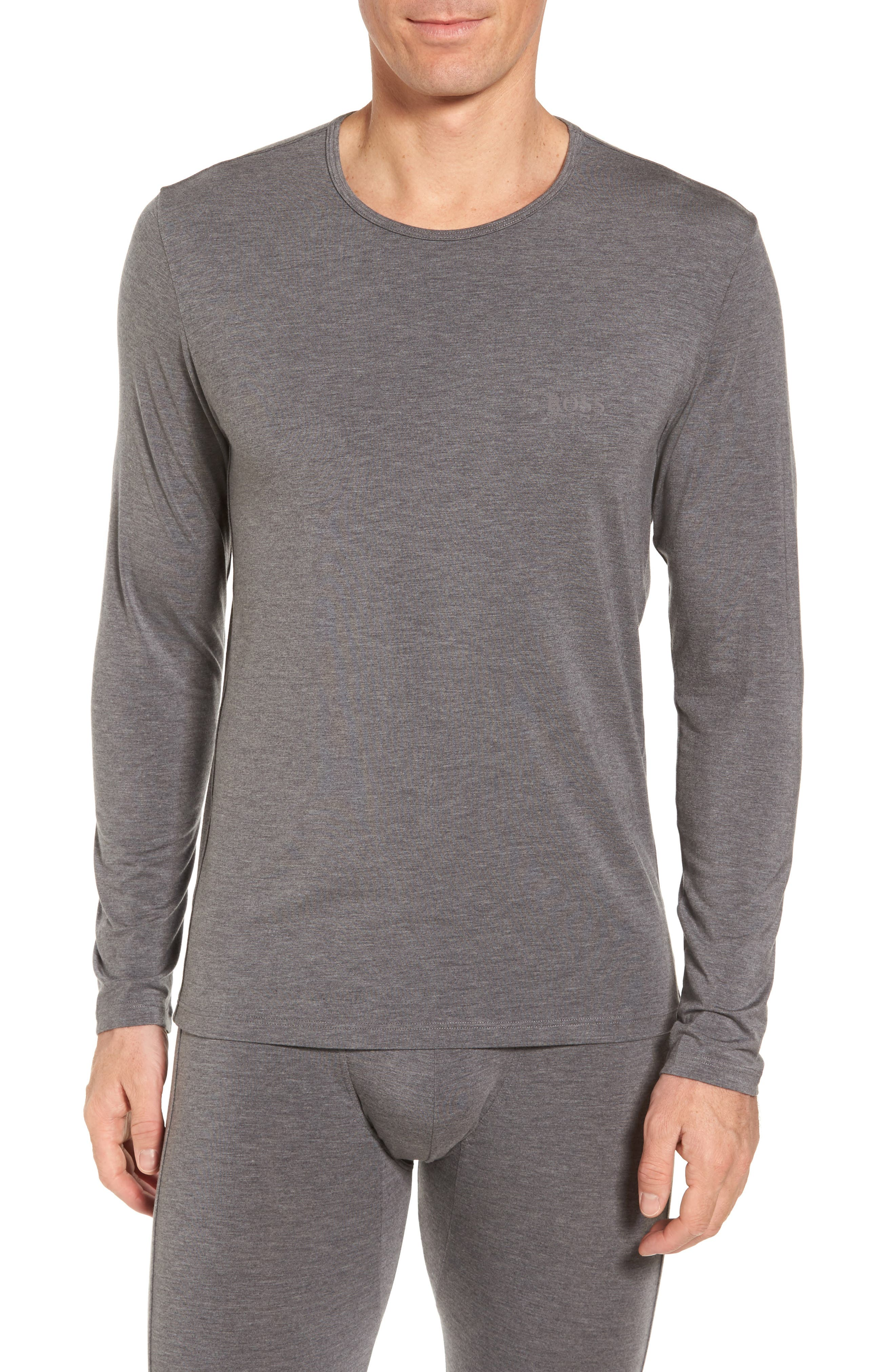 Thermal Long Sleeve T-Shirt,                         Main,                         color, Charcoal