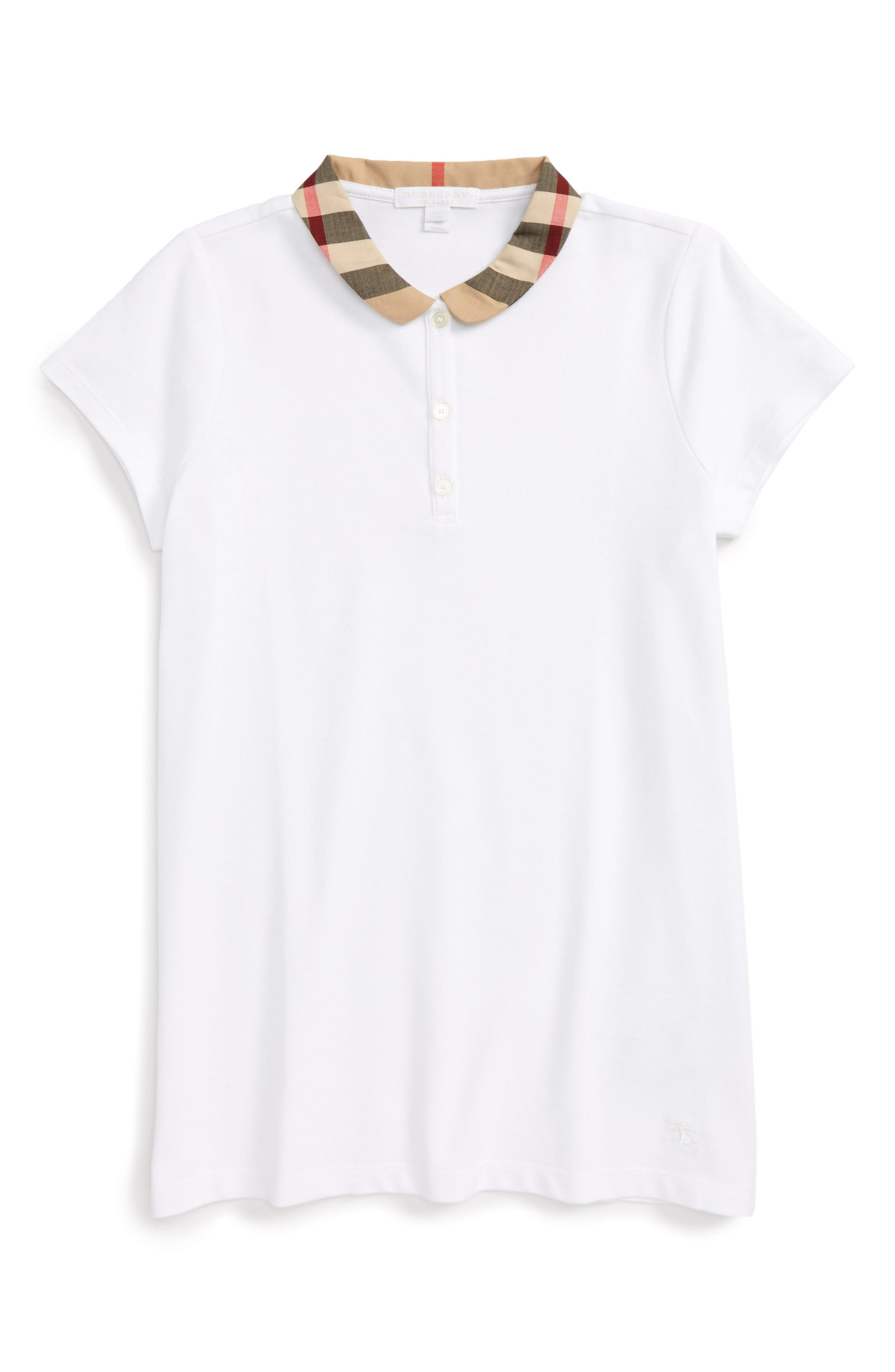 Alternate Image 1 Selected - Burberry Zadie Check Collar Polo (Little Girls & Big Girls)