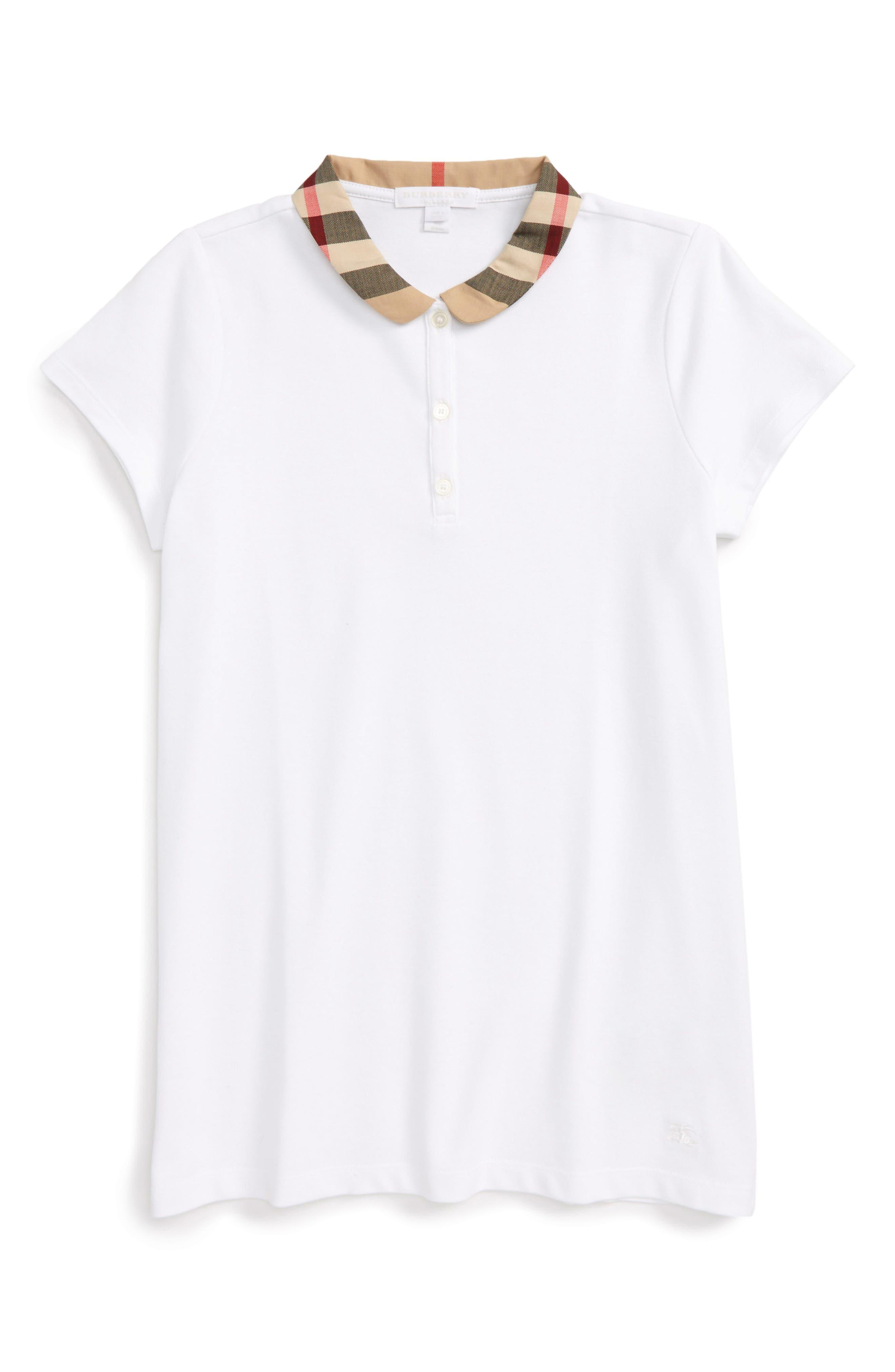 Zadie Check Collar Polo,                         Main,                         color, White