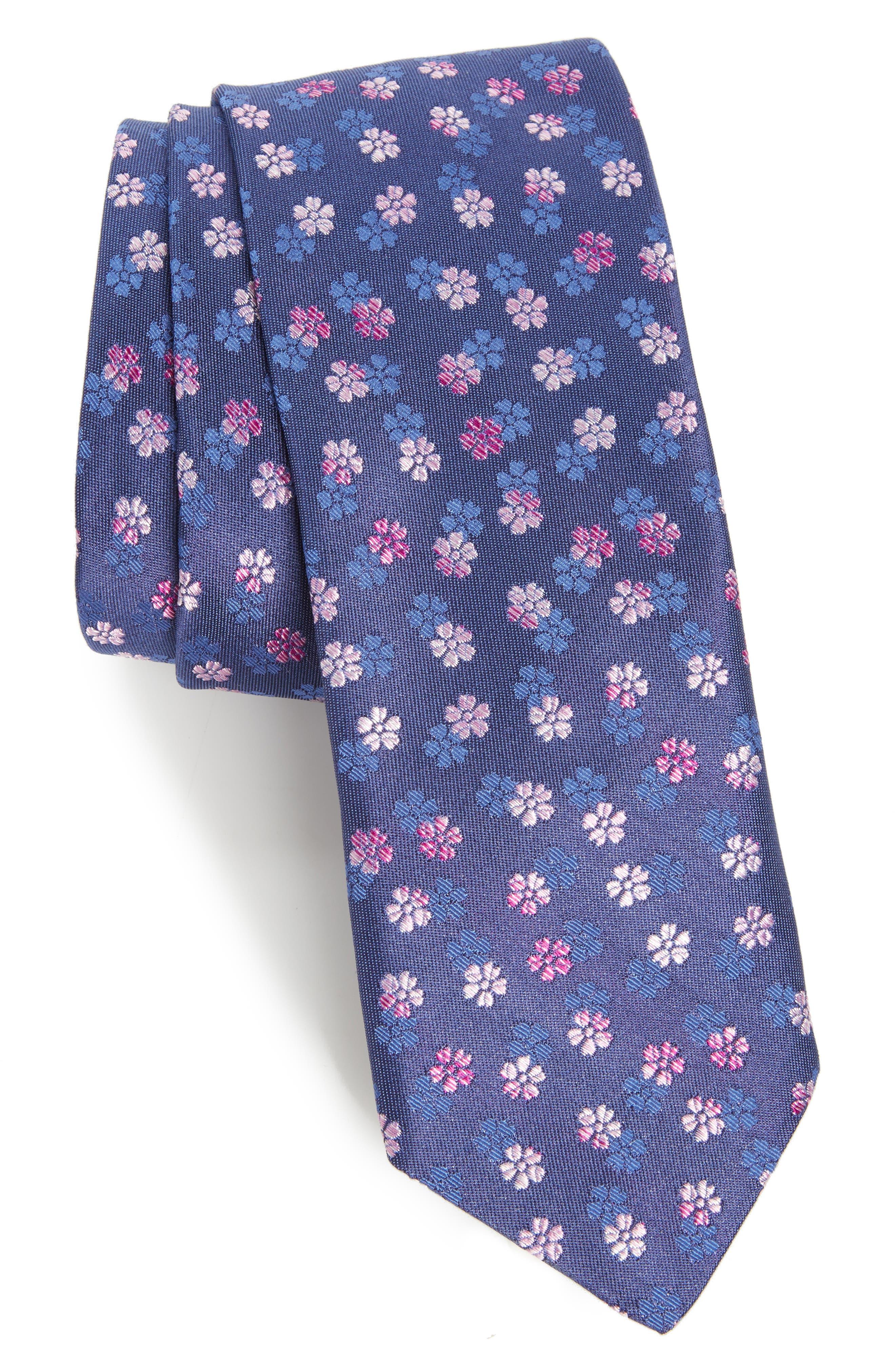 Ombré Floral Silk Tie,                         Main,                         color, Navy/ Pink