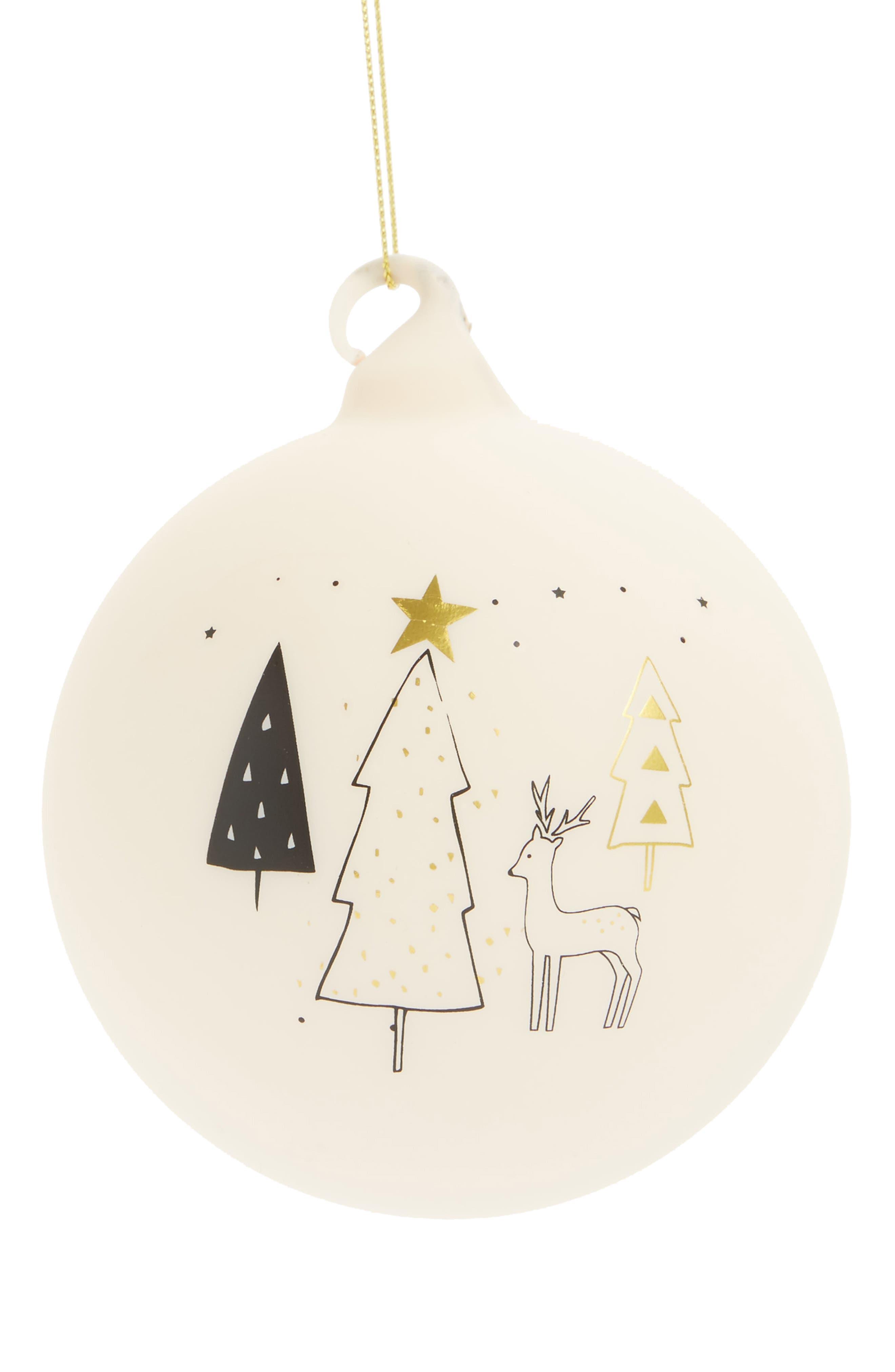 Arty Reindeer Glass Ball Ornament