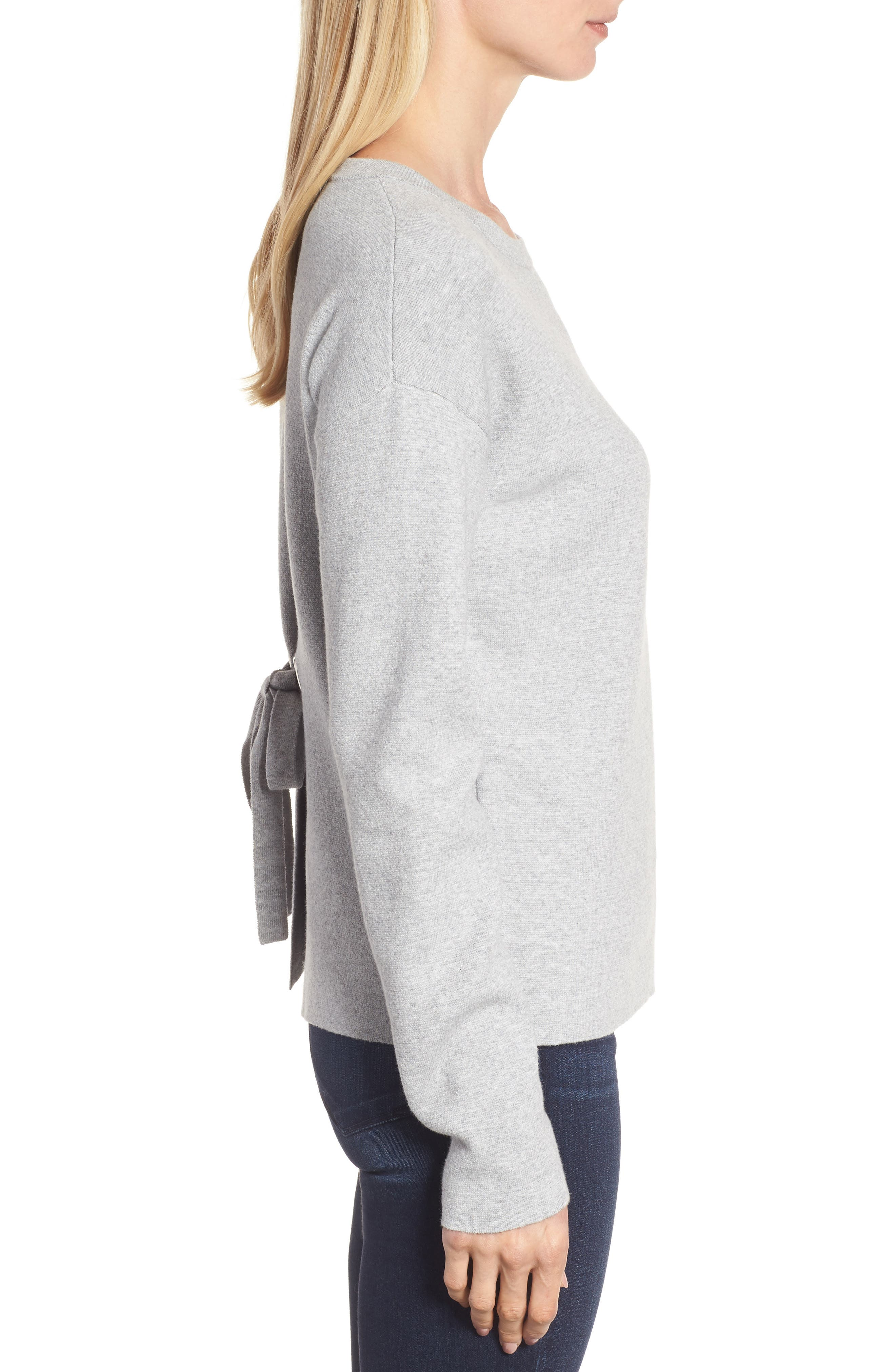 Tie Back Sweater,                             Alternate thumbnail 3, color,                             Heather Grey