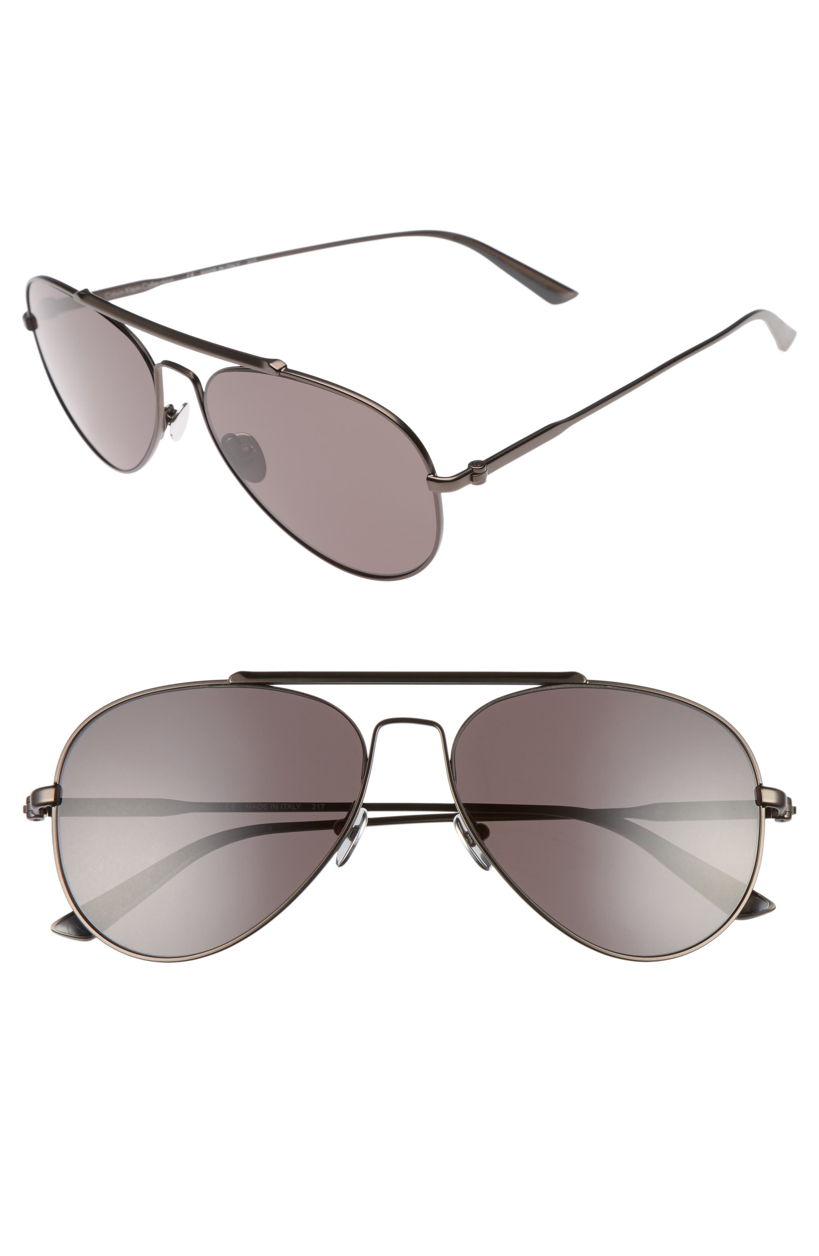 58mm Aviator Sunglasses,                             Main thumbnail 1, color,                             Satin Titanium