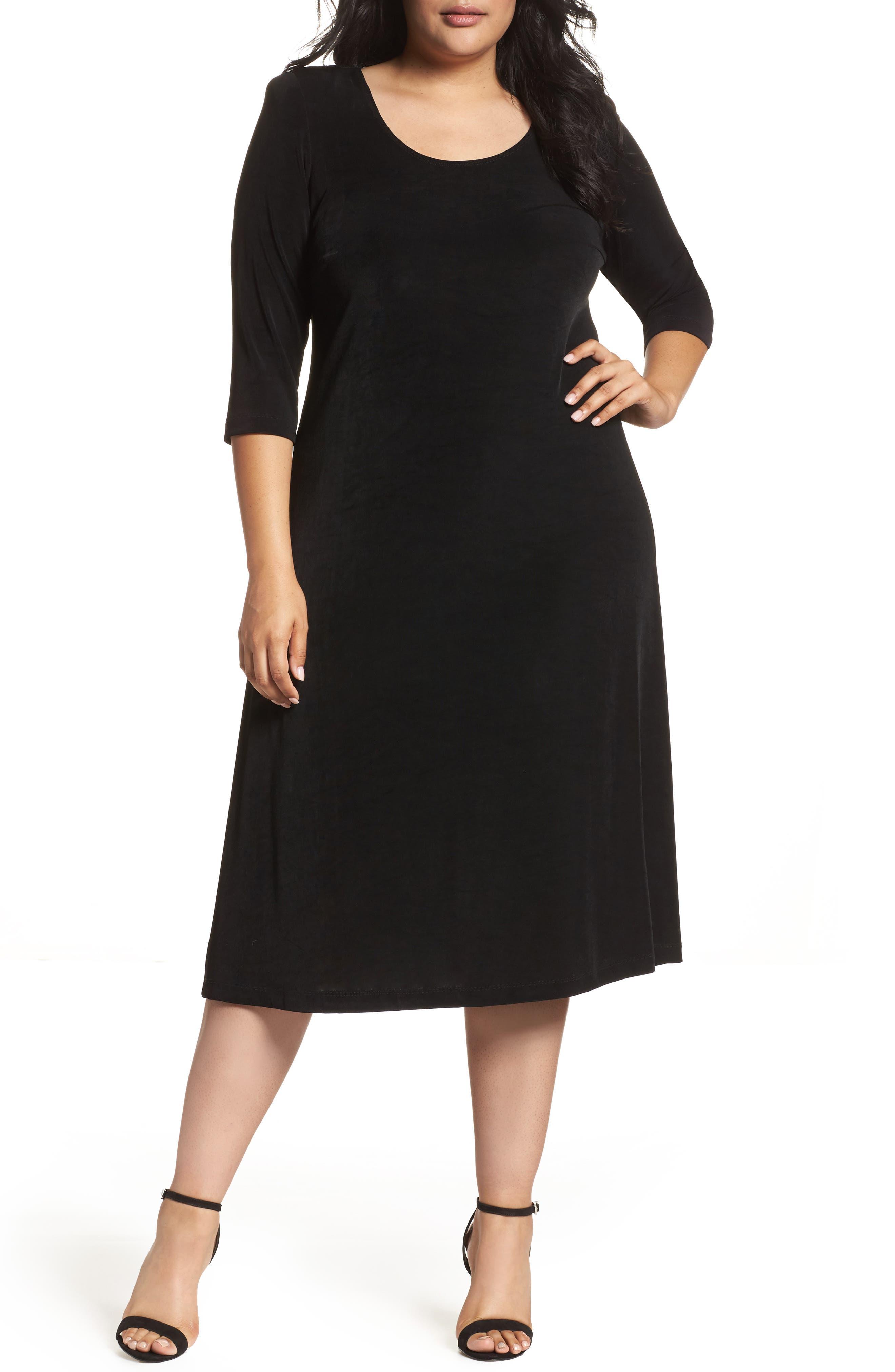 Three-Quarter Sleeve Stretch Knit A-Line Dress,                         Main,                         color, Black