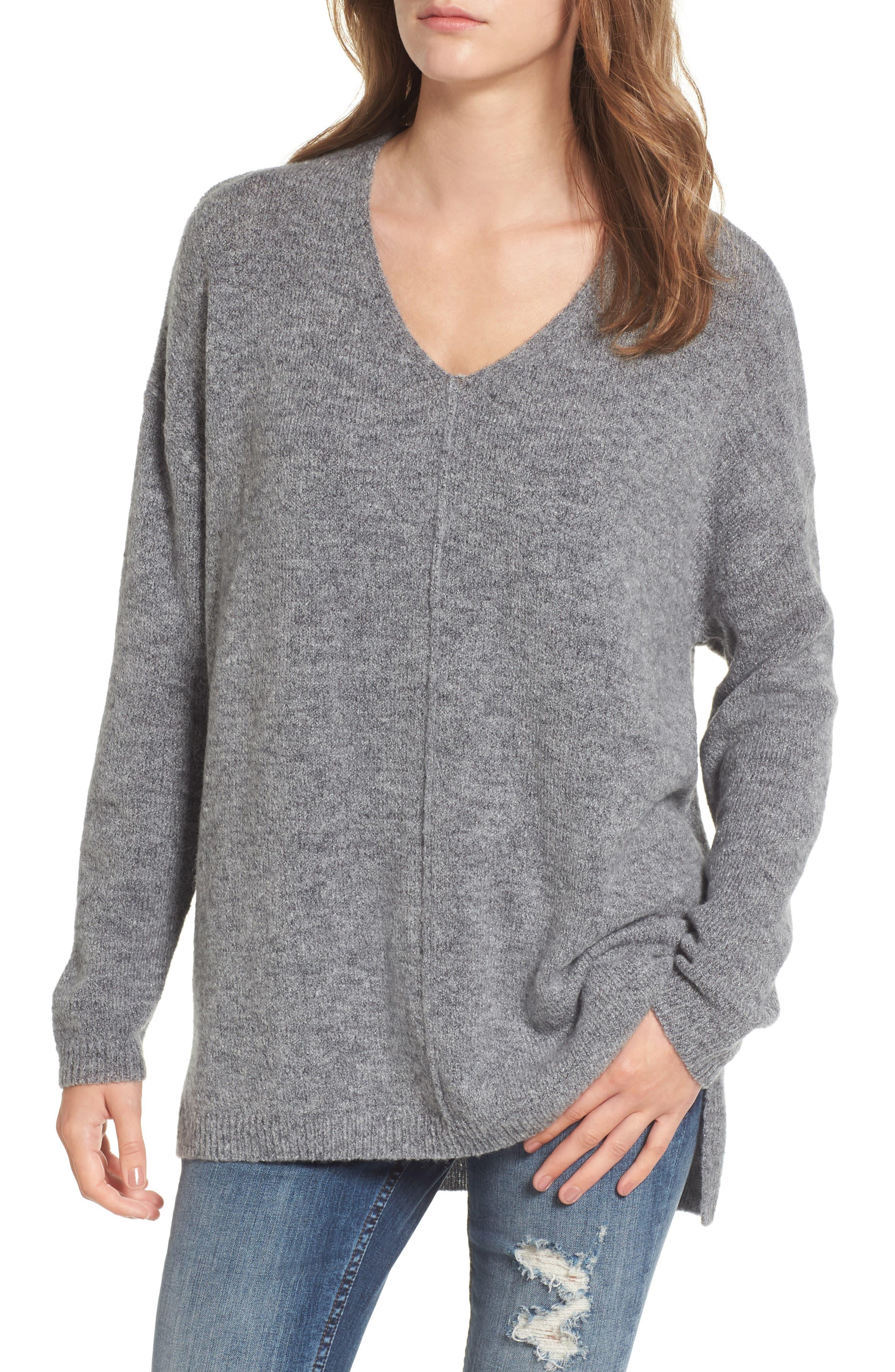 Exposed Seam Tunic Sweater,                         Main,                         color, Grey