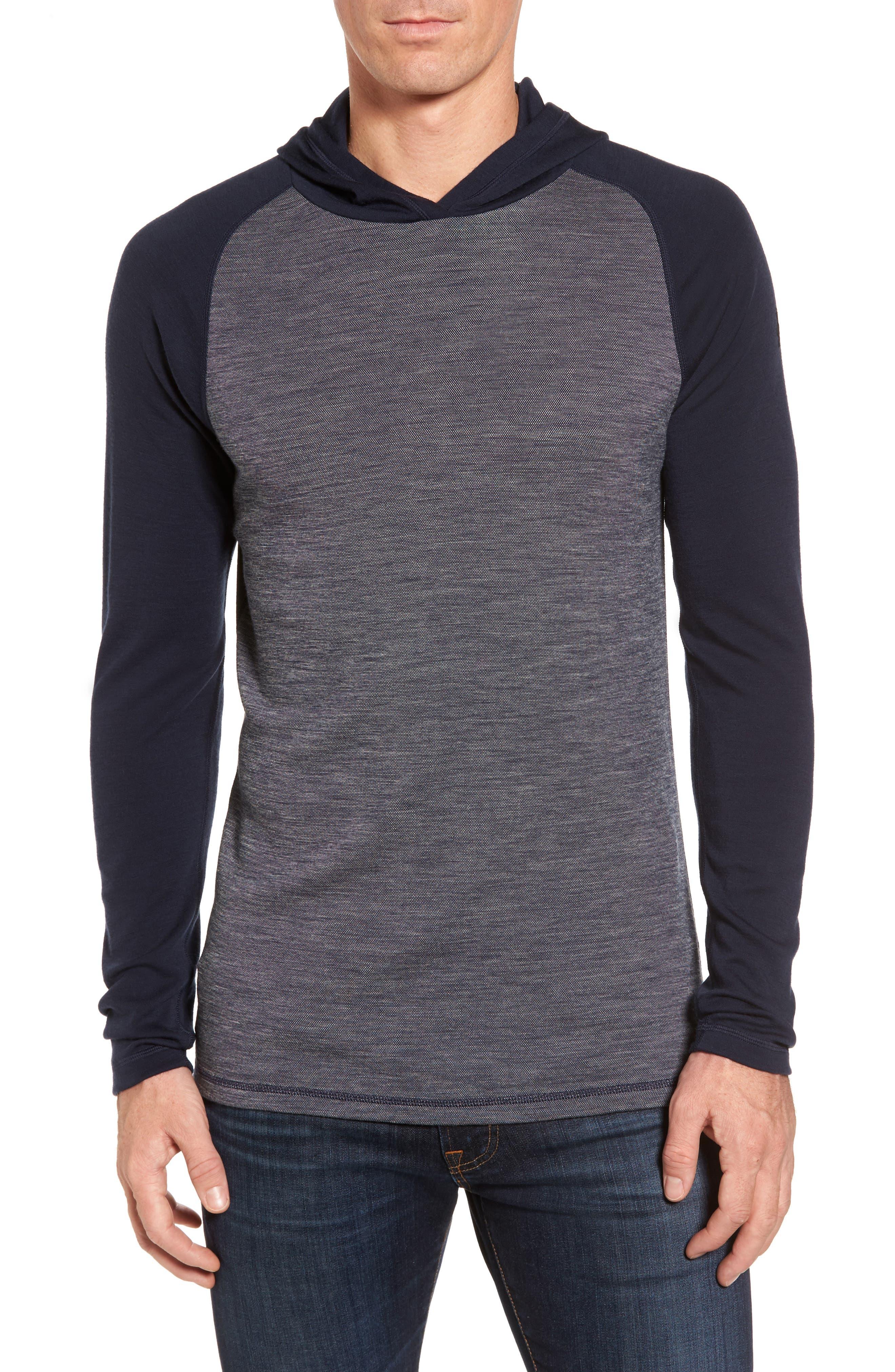 Merino 250 Base Layer Pattern Crewneck T-Shirt,                         Main,                         color, Deep Navy