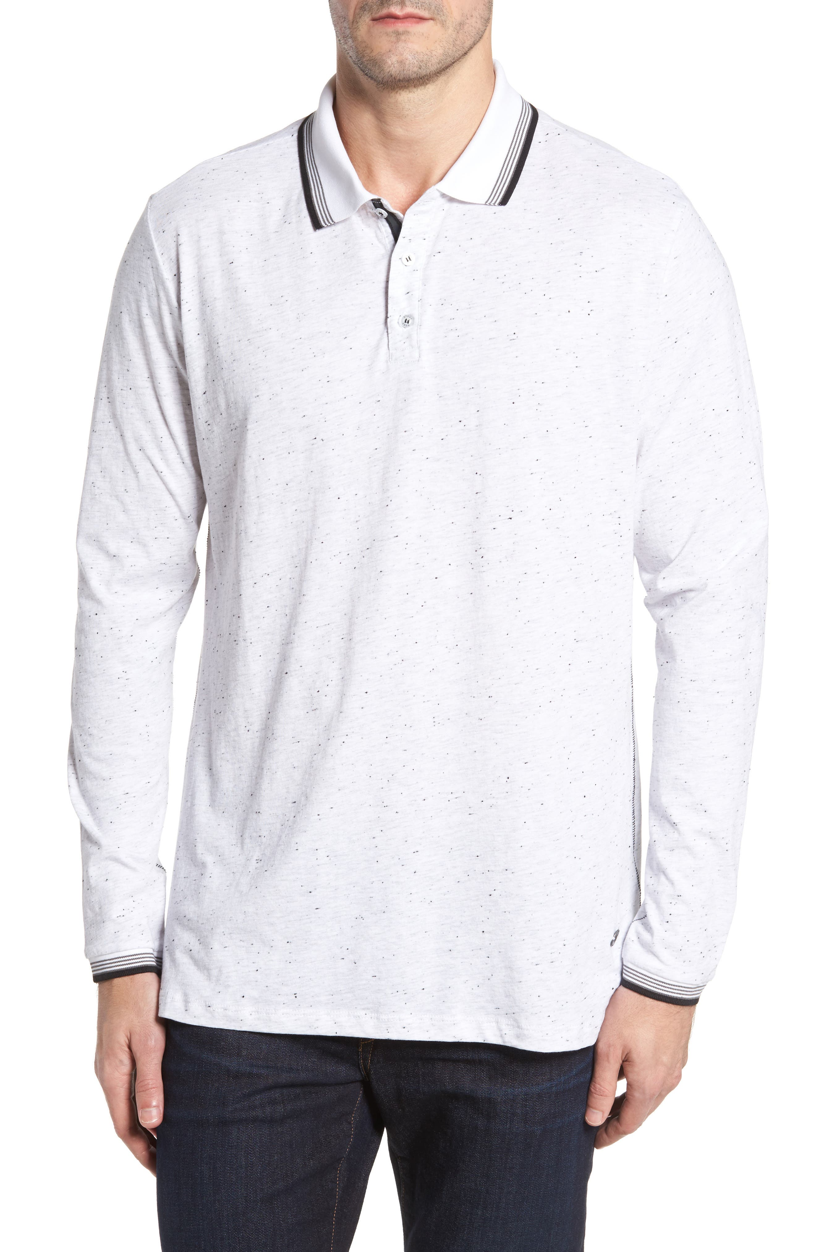 Speckle Knit Long Sleeve Polo,                         Main,                         color, White
