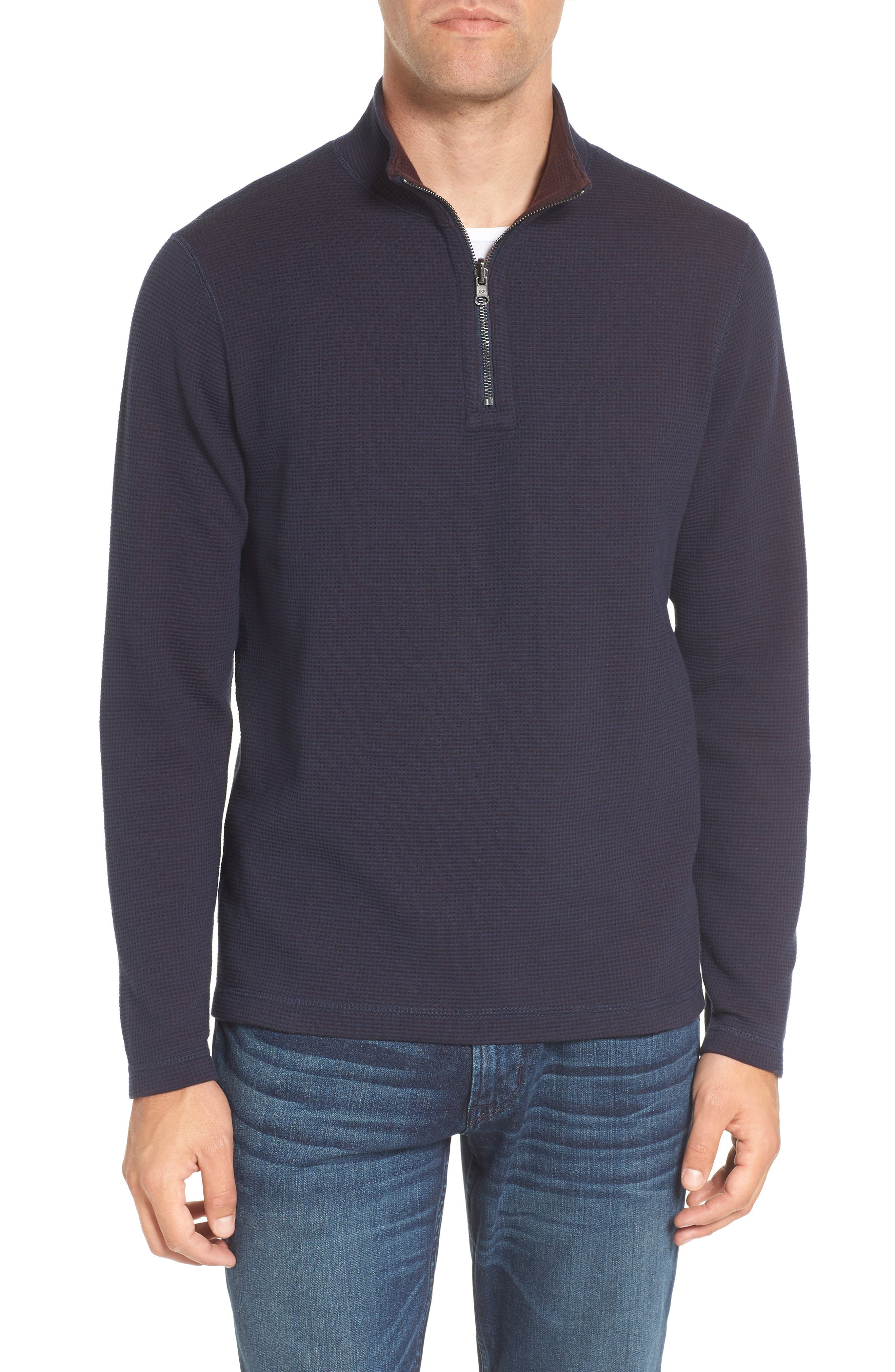 Reversible Quarter Zip Pullover,                         Main,                         color, Raspberry Fudge Heather