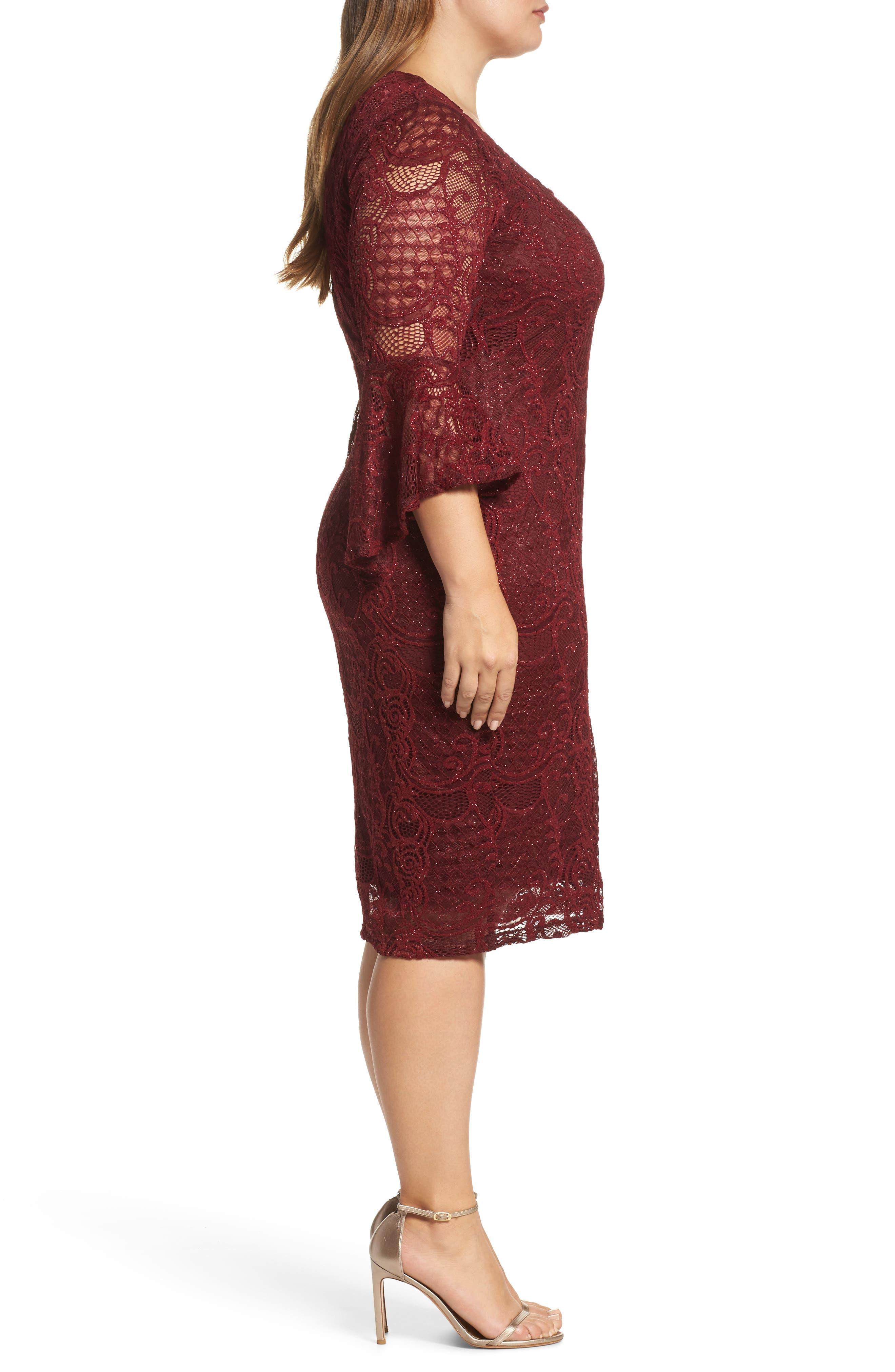 Alternate Image 3  - Marina Bell Sleeve Glitter Lace Sheath Dress (Plus Size)