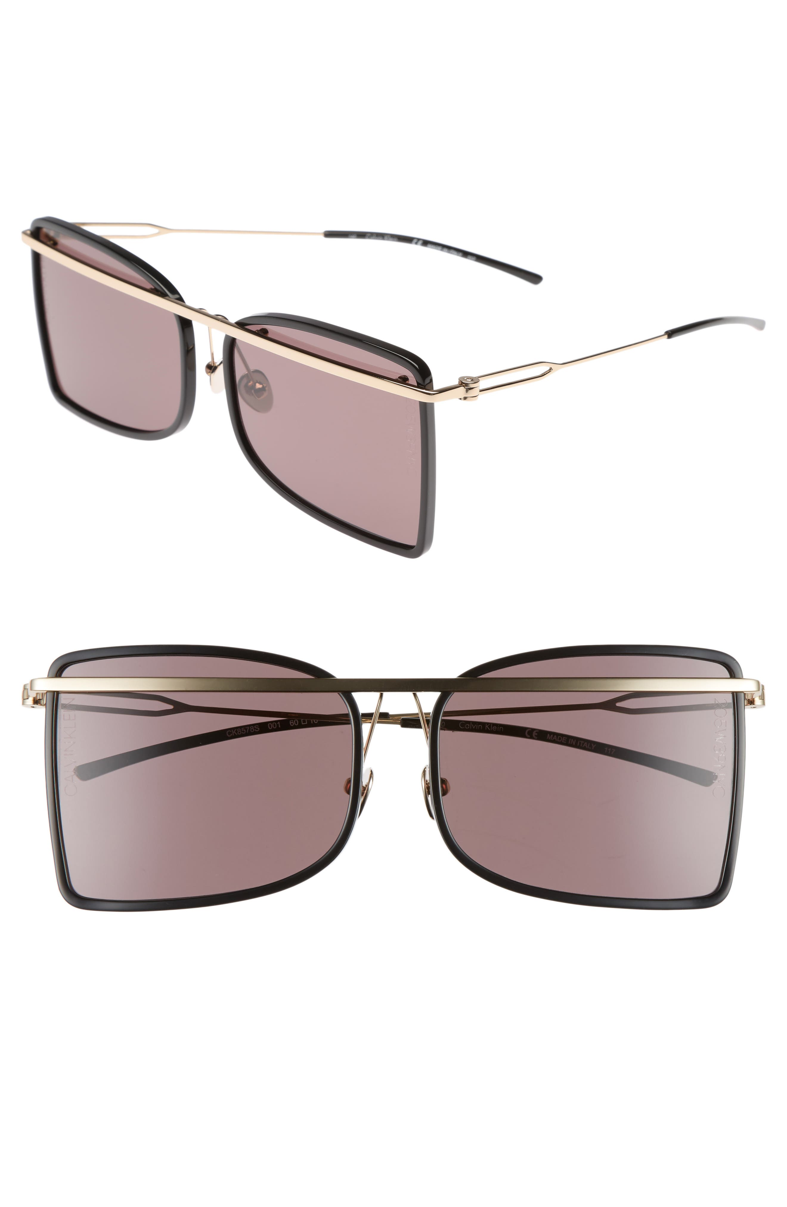 205W39NYC 60mm Butterfly Sunglasses,                         Main,                         color, Black
