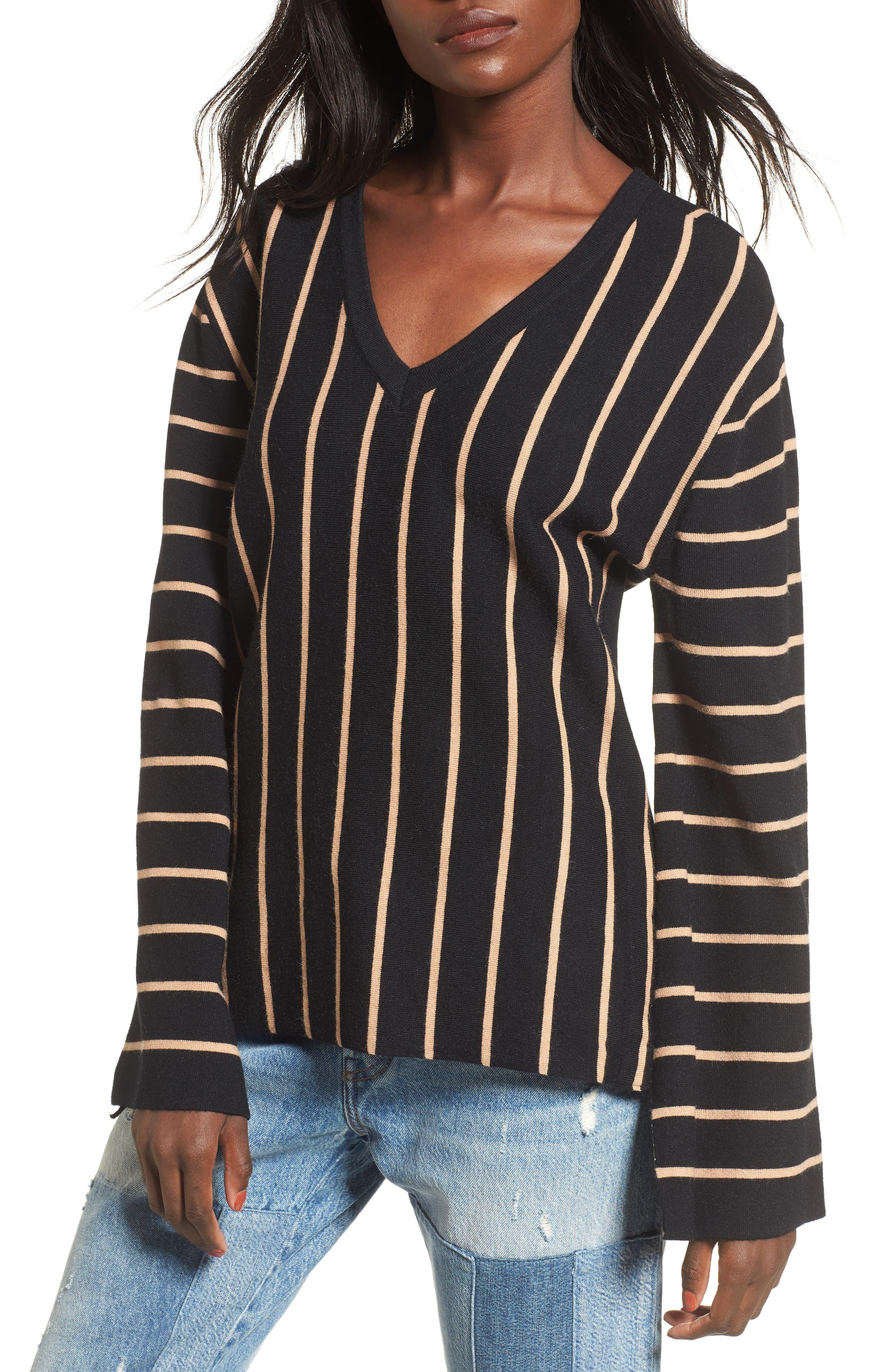 Split Cuff Sweater,                         Main,                         color, Black Multi
