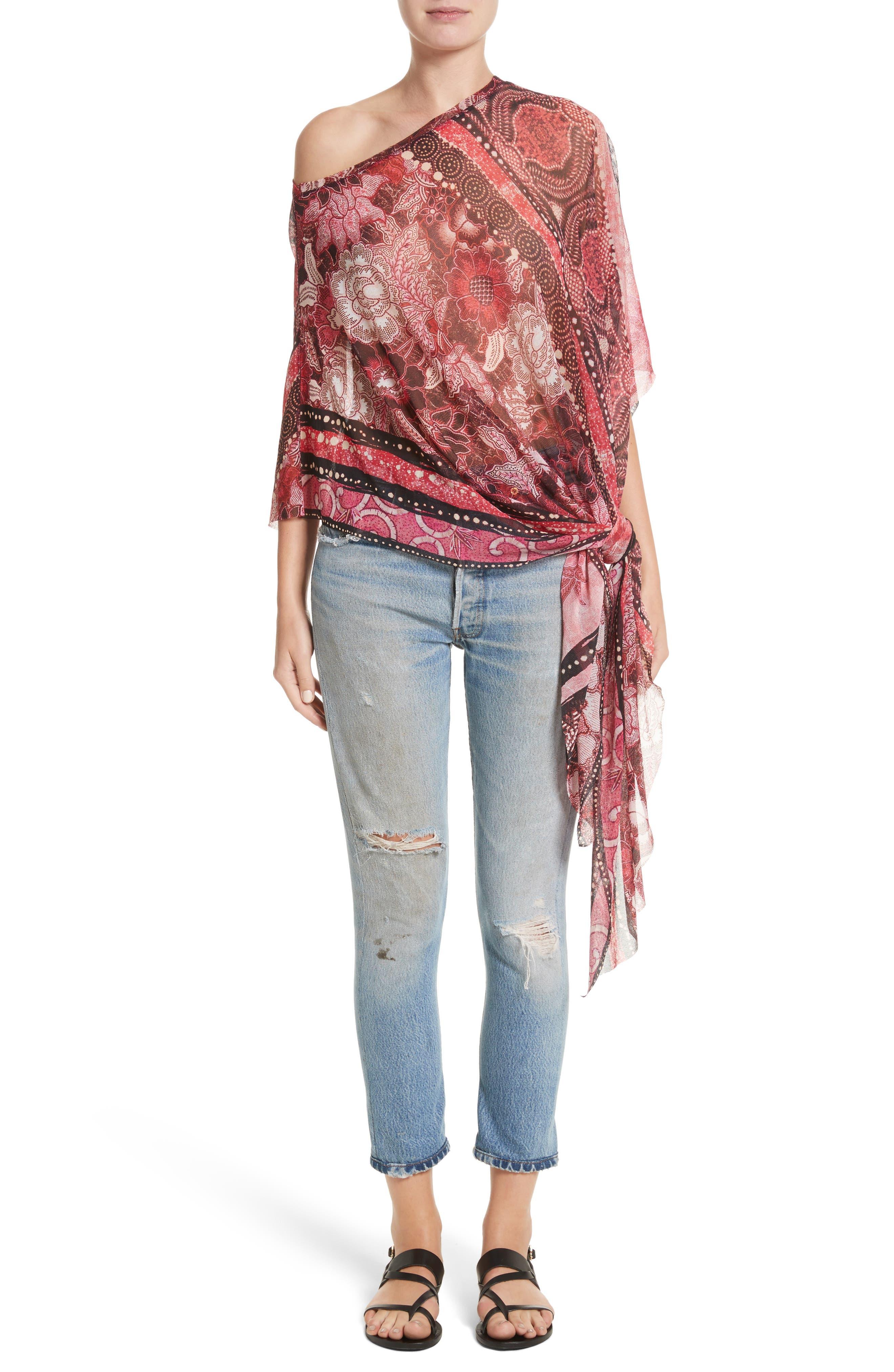 Alternate Image 7  - Fuzzi Print Tulle Handkerchief Hem Shawl Top